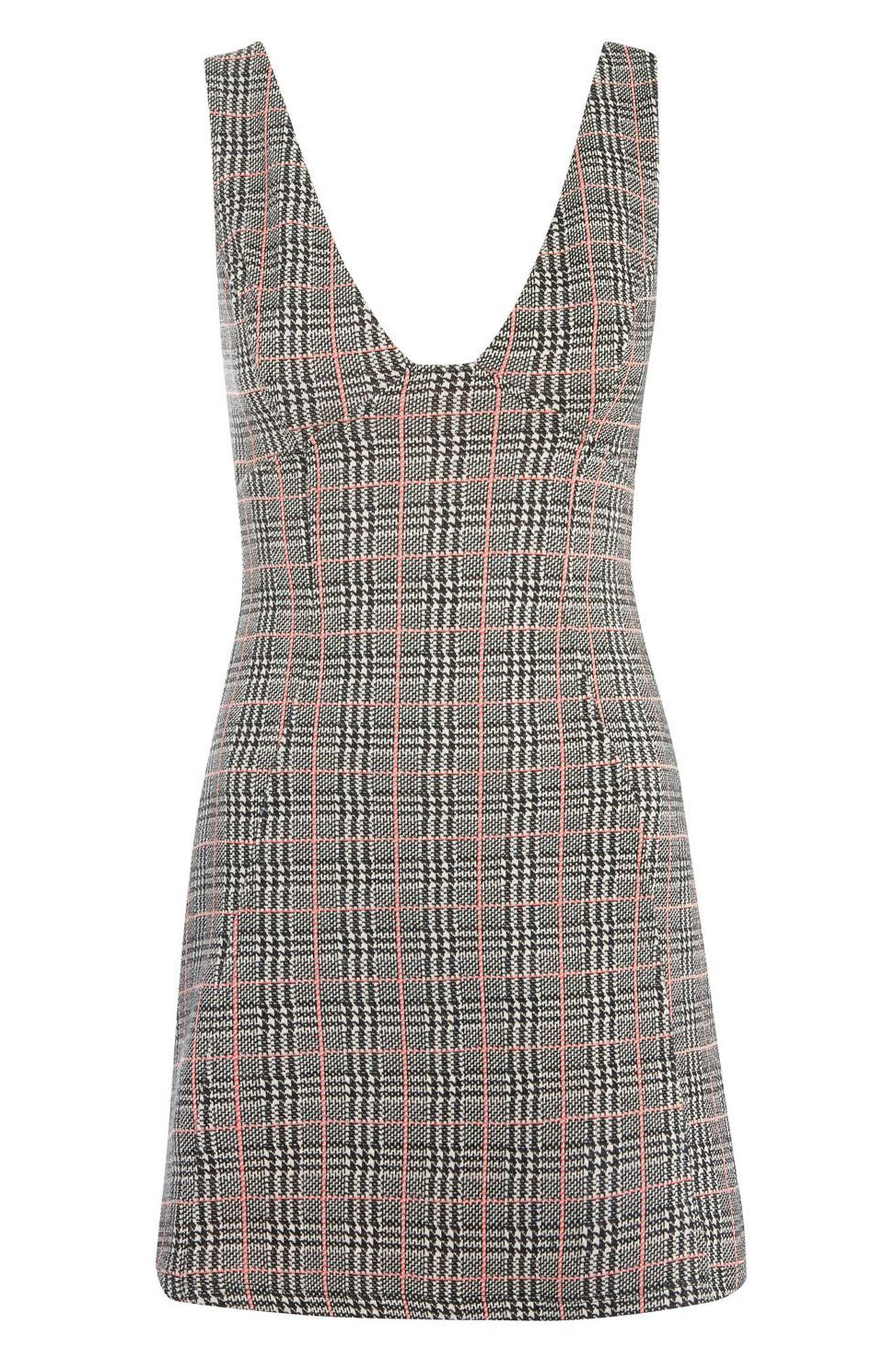 Plaid A-Line Pinafore Dress,                             Alternate thumbnail 4, color,                             001