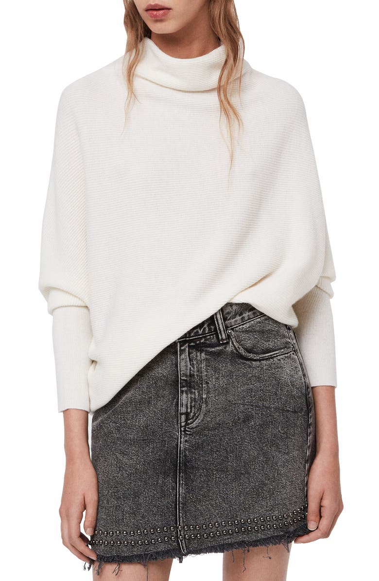 Ridley Funnel Neck Wool & Cashmere Sweater,                         Main,                         color, CHALK WHITE