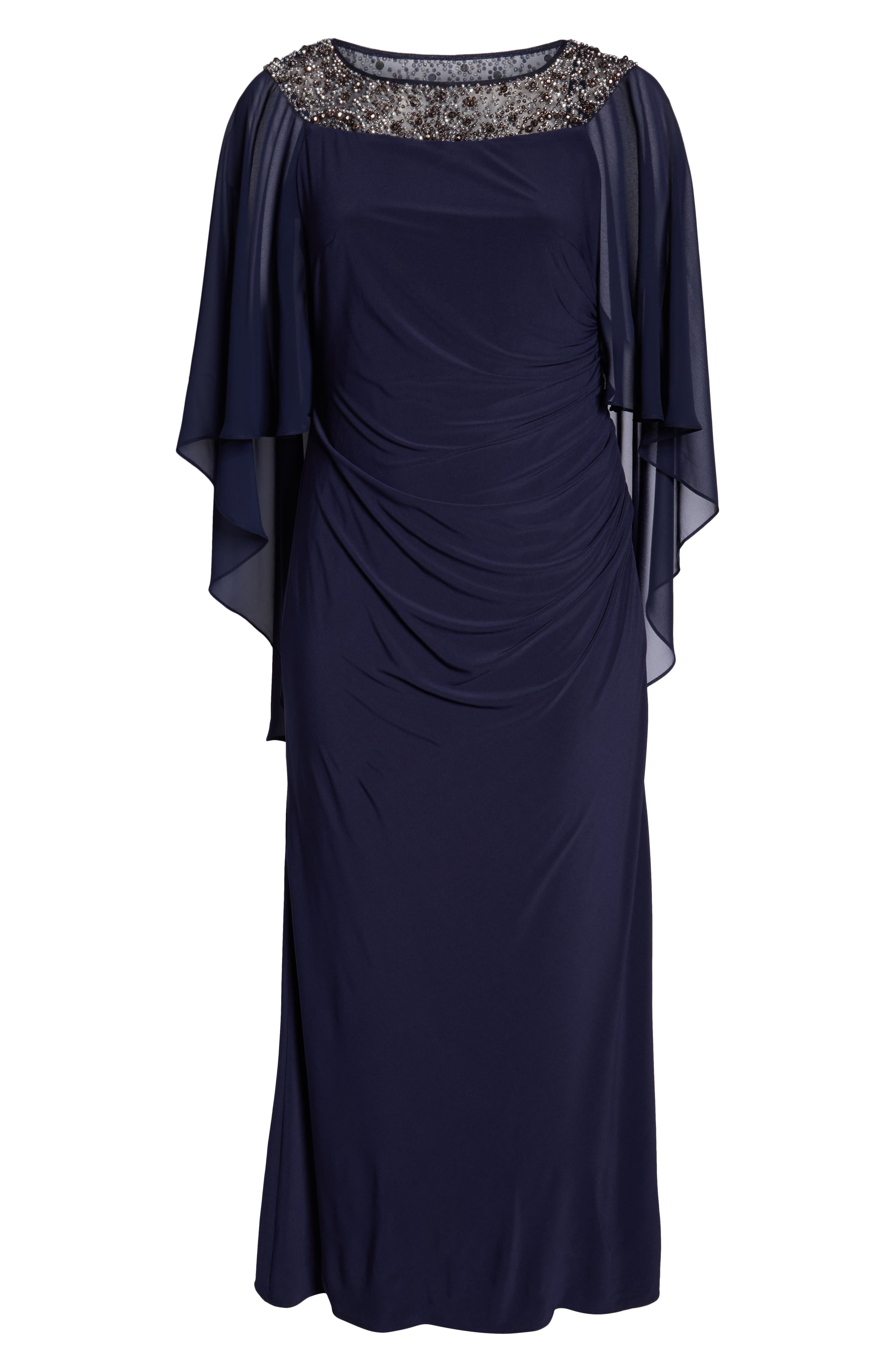 Chiffon Cape Sleeve Beaded Neckline Gown,                             Alternate thumbnail 7, color,                             NAVY/ SILVER
