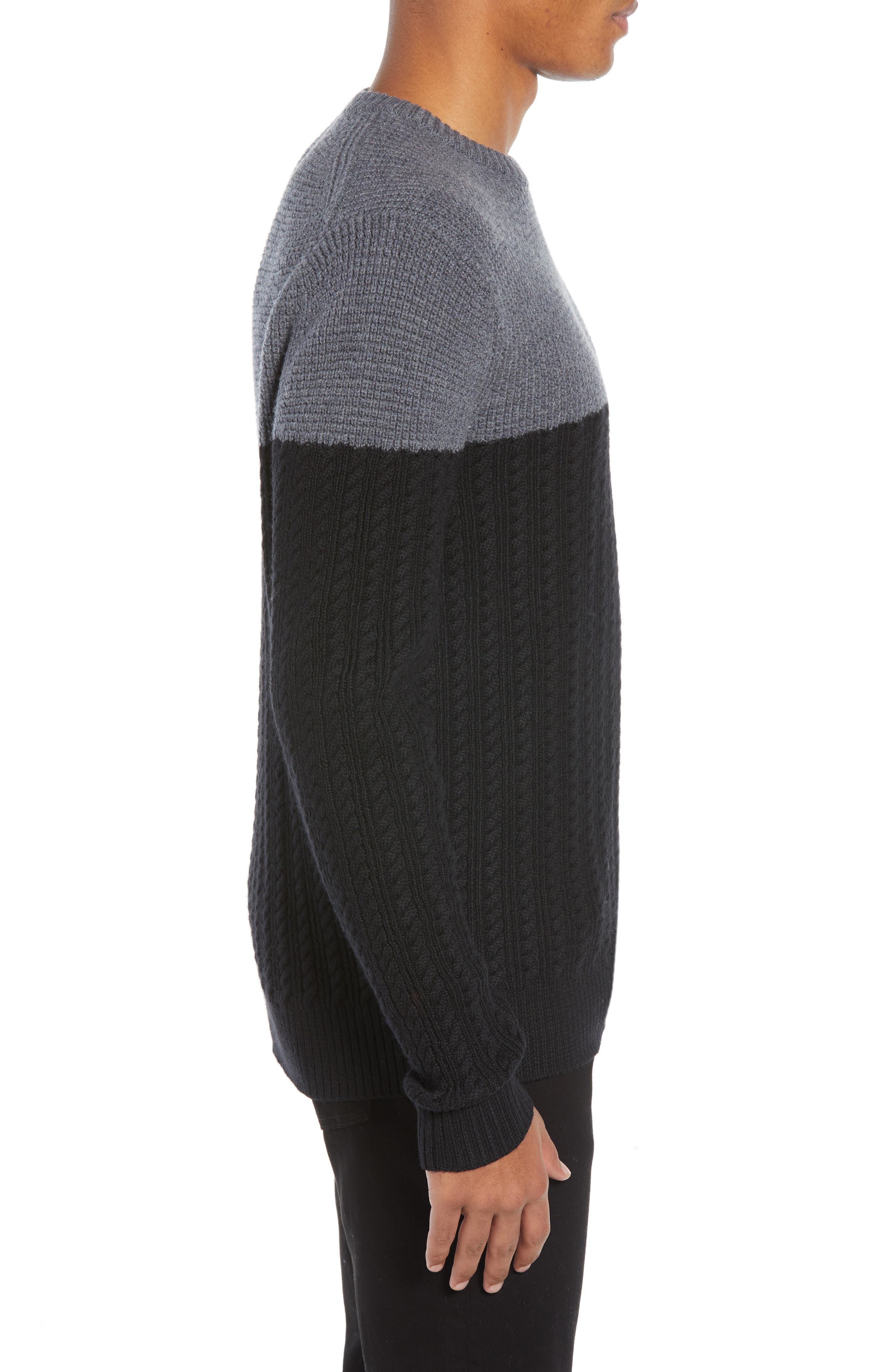 Block Merino Wool Cable Knit Sweater,                             Alternate thumbnail 3, color,                             BLACK CAVIAR COLORBLOCK