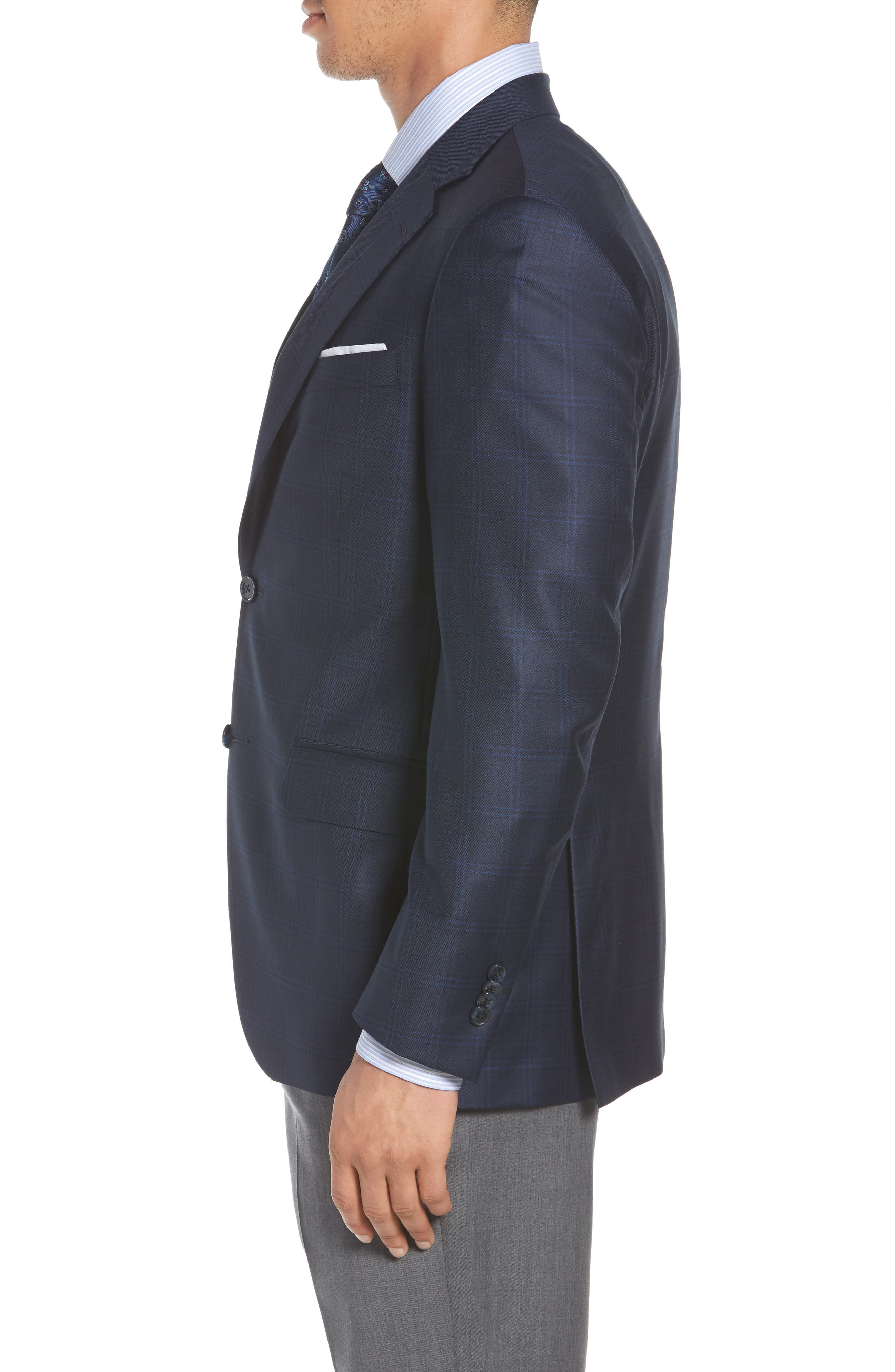 Classic Fit Check Wool Sport Coat,                             Alternate thumbnail 3, color,                             400