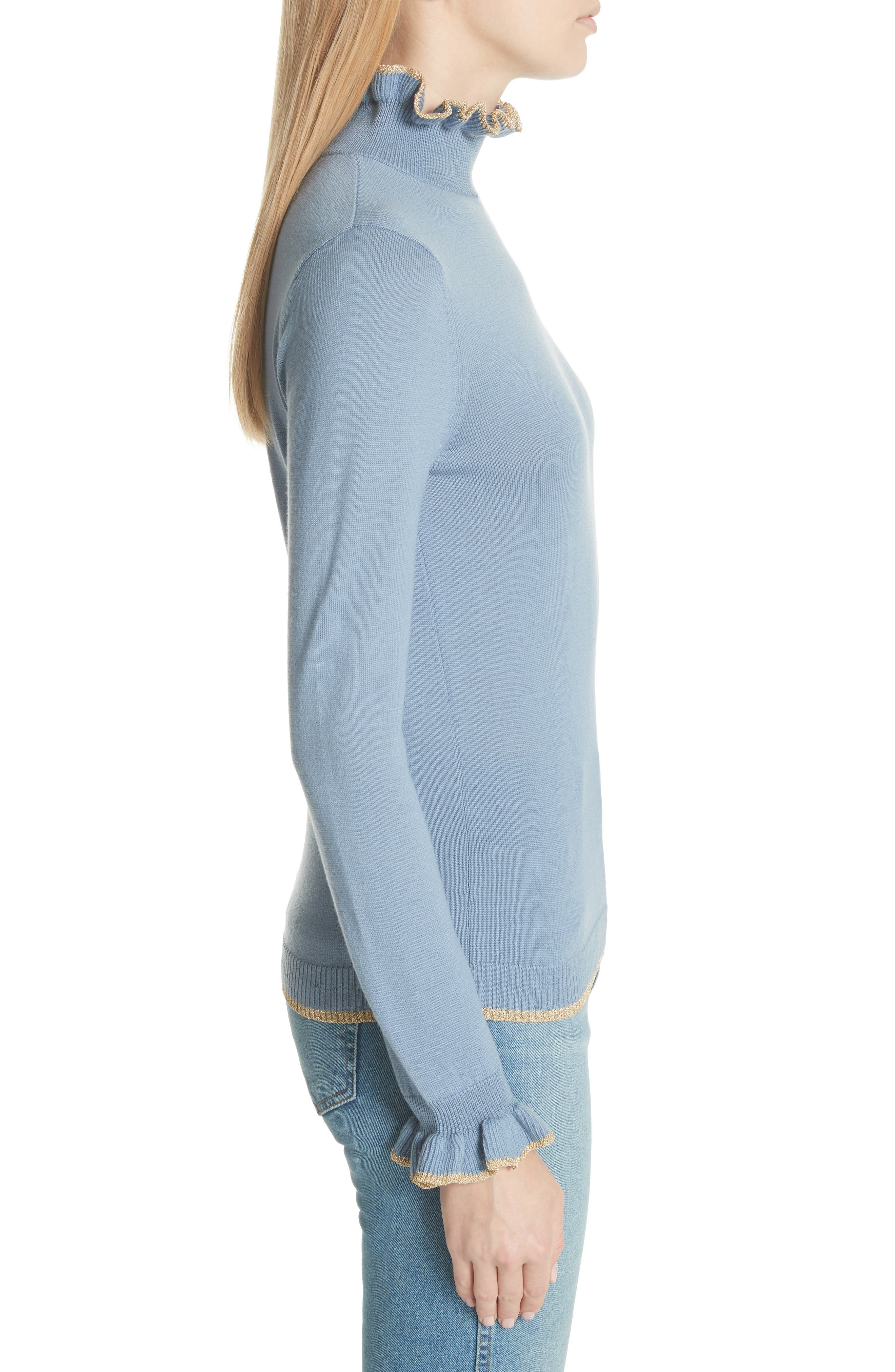 Norah Frill Neck Wool Sweater,                             Alternate thumbnail 3, color,                             400