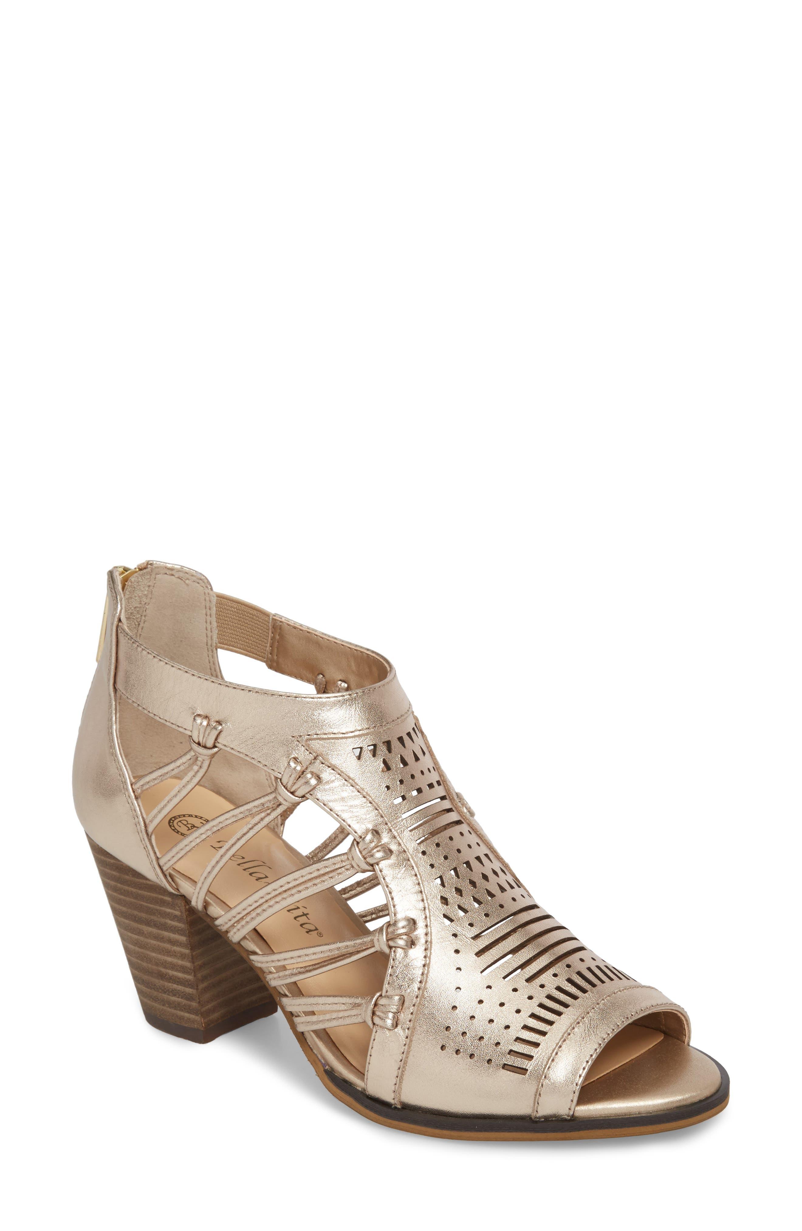 Bella Vita Kortez Block Heel Sandal, WW - Metallic