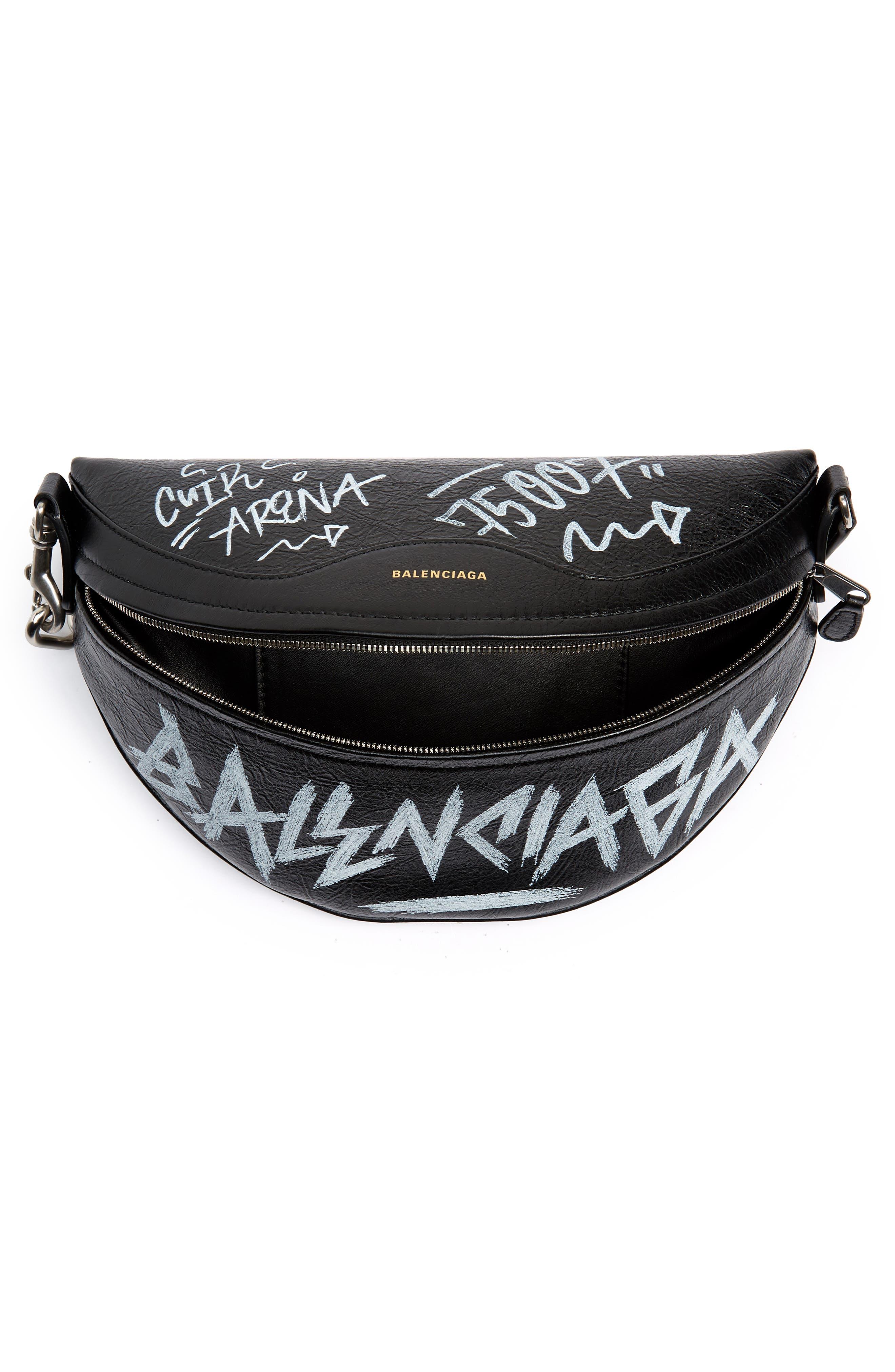 Graffiti Souvenir Leather Belt Bag,                             Alternate thumbnail 5, color,                             NOIR/ BLANC