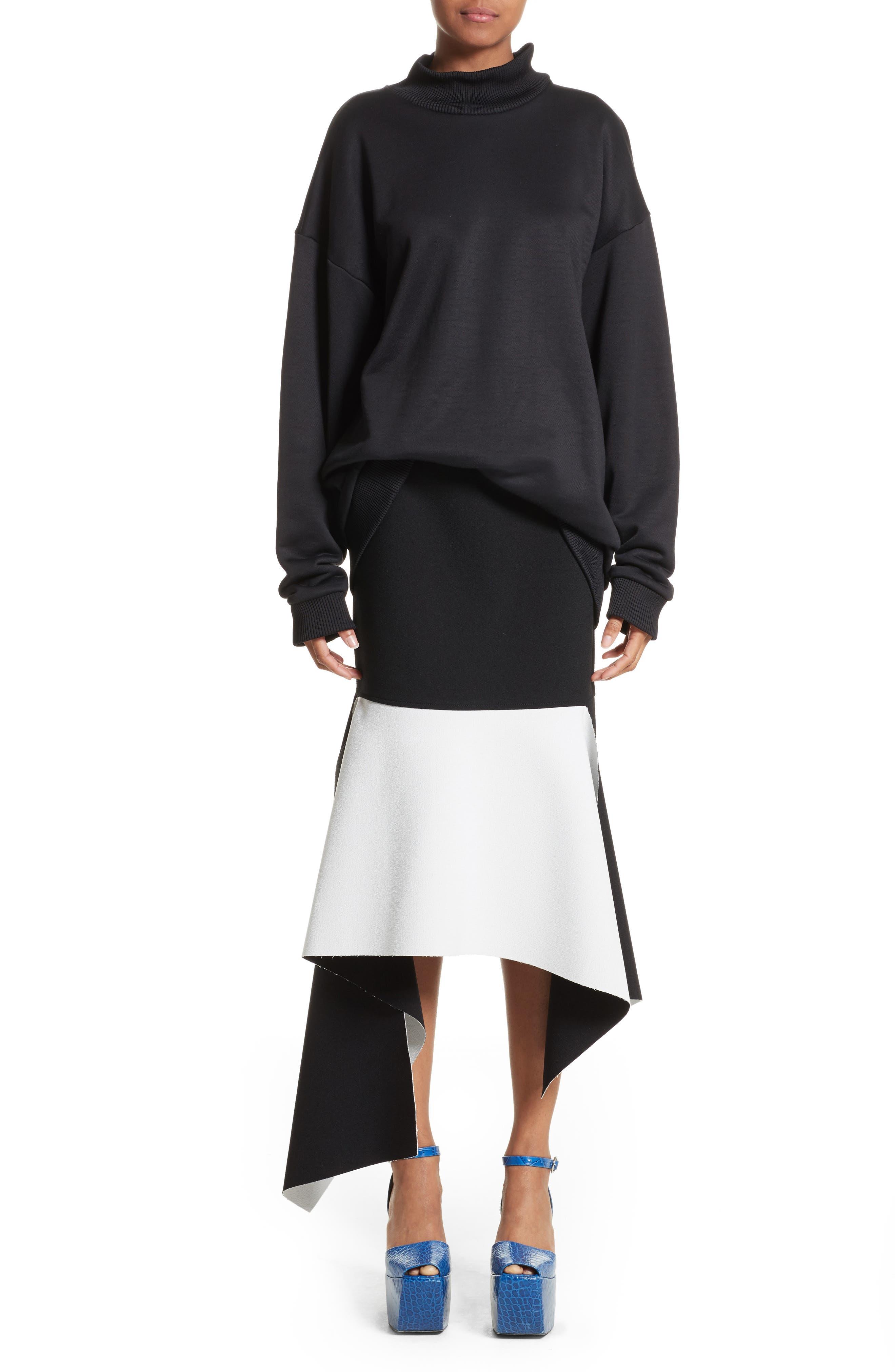 Marques'Almeida Asymmetrical Bicolor Crepe Skirt,                             Alternate thumbnail 7, color,                             003