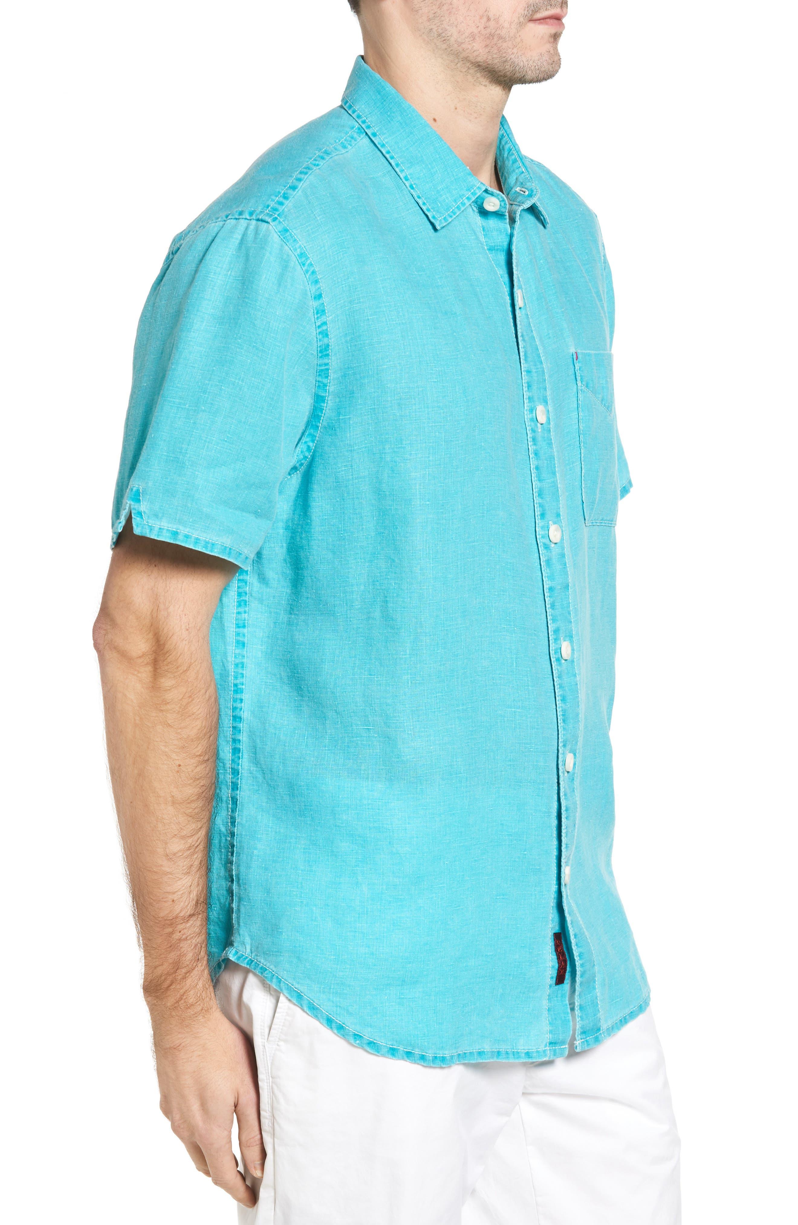 Seaglass Breezer Short Sleeve Linen Sport Shirt,                             Alternate thumbnail 33, color,