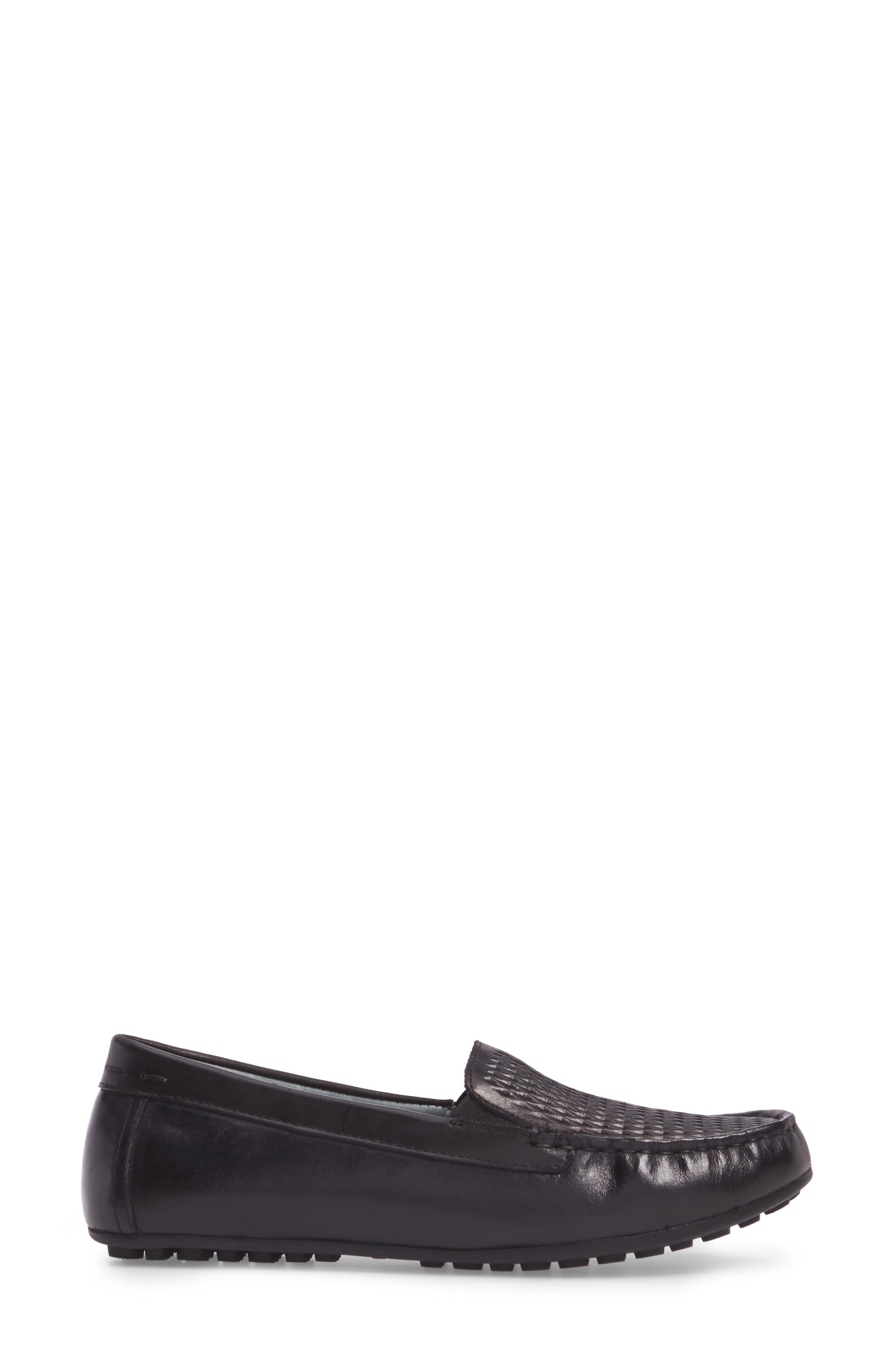 Posh Driving Loafer,                             Alternate thumbnail 3, color,                             BLACK LEATHER