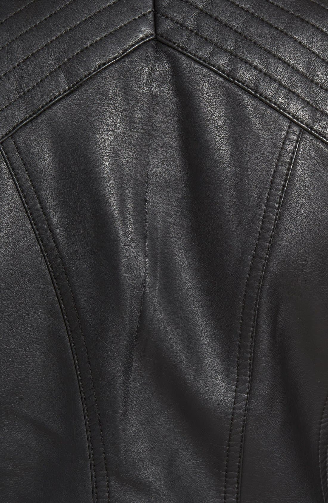 Quilted Faux Leather Jacket,                             Alternate thumbnail 5, color,                             001