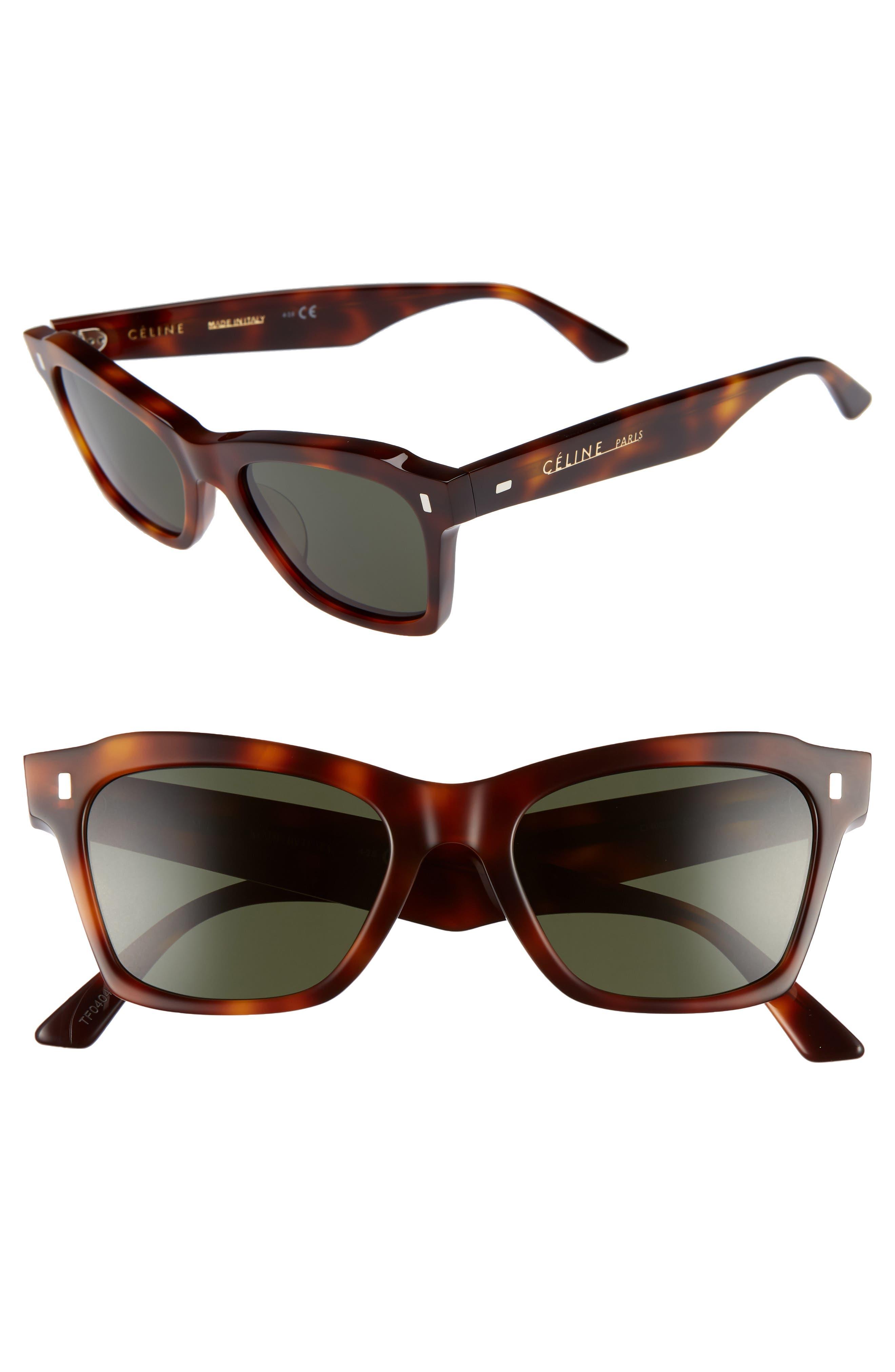 52Mm Rectangle Cat Eye Sunglasses - Classic Havana