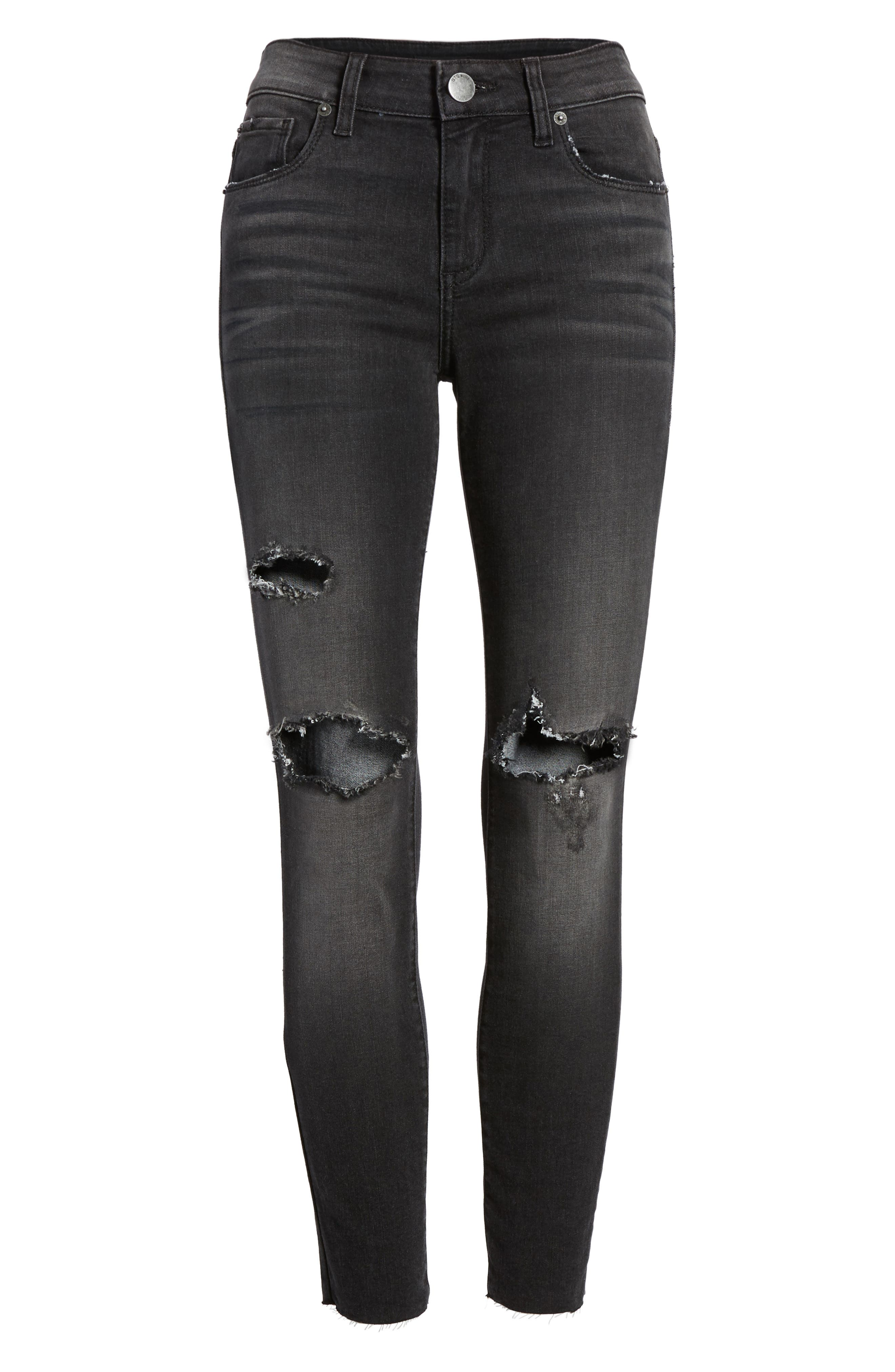 Emma Ripped Crop Jeans,                             Alternate thumbnail 6, color,                             001