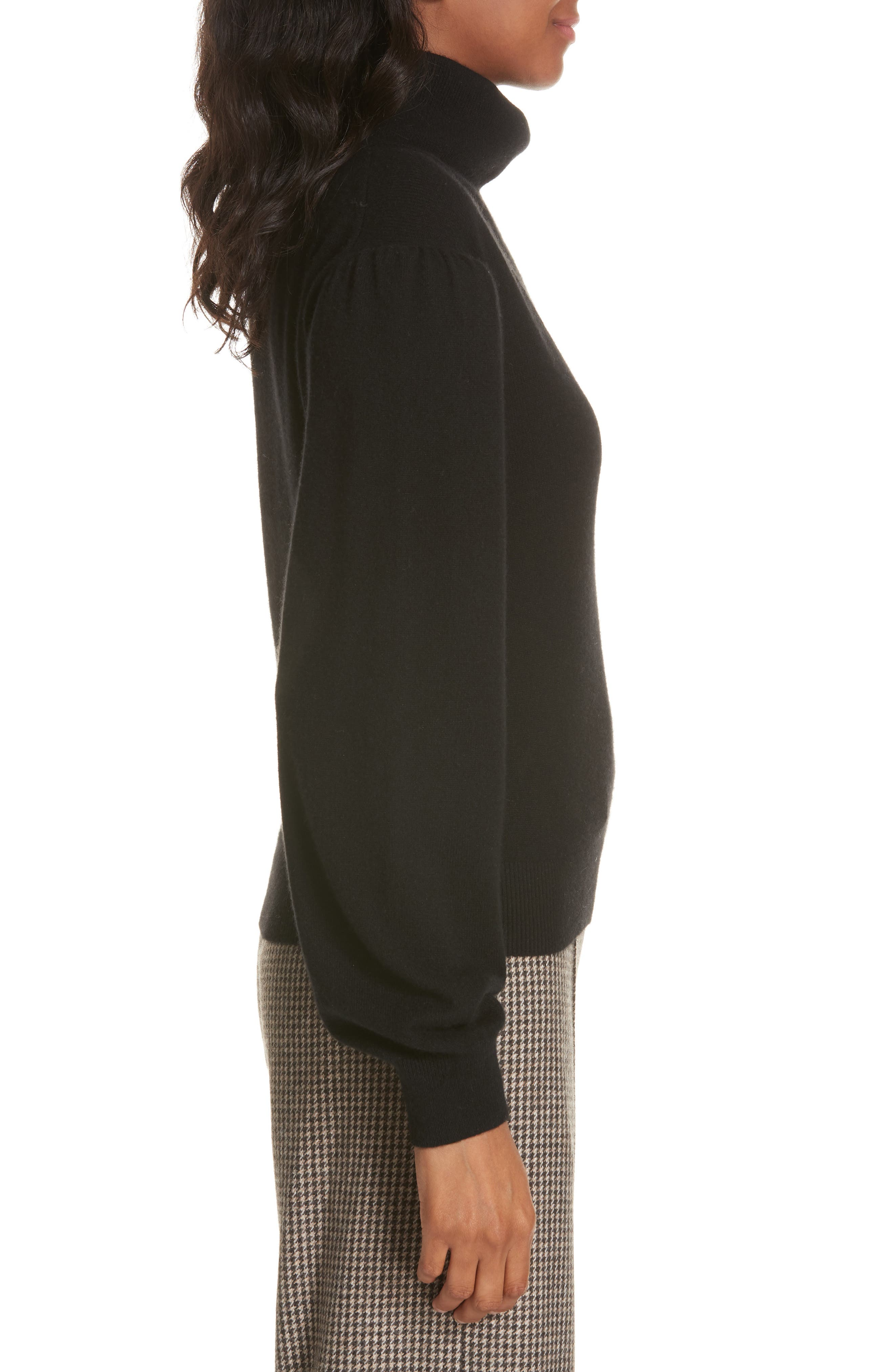 Lilla Puff Sleeve Cashmere Sweater,                             Alternate thumbnail 3, color,                             BLACK