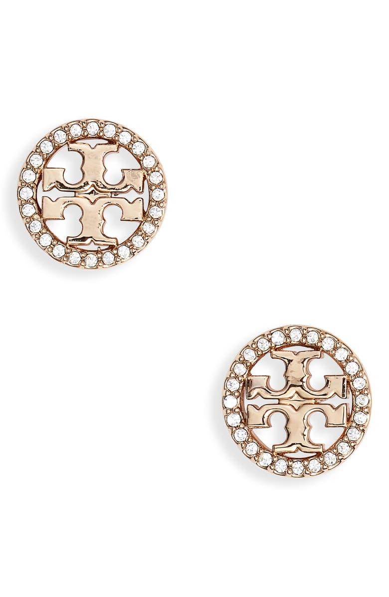 Crystal Logo Circle Stud Earrings Main