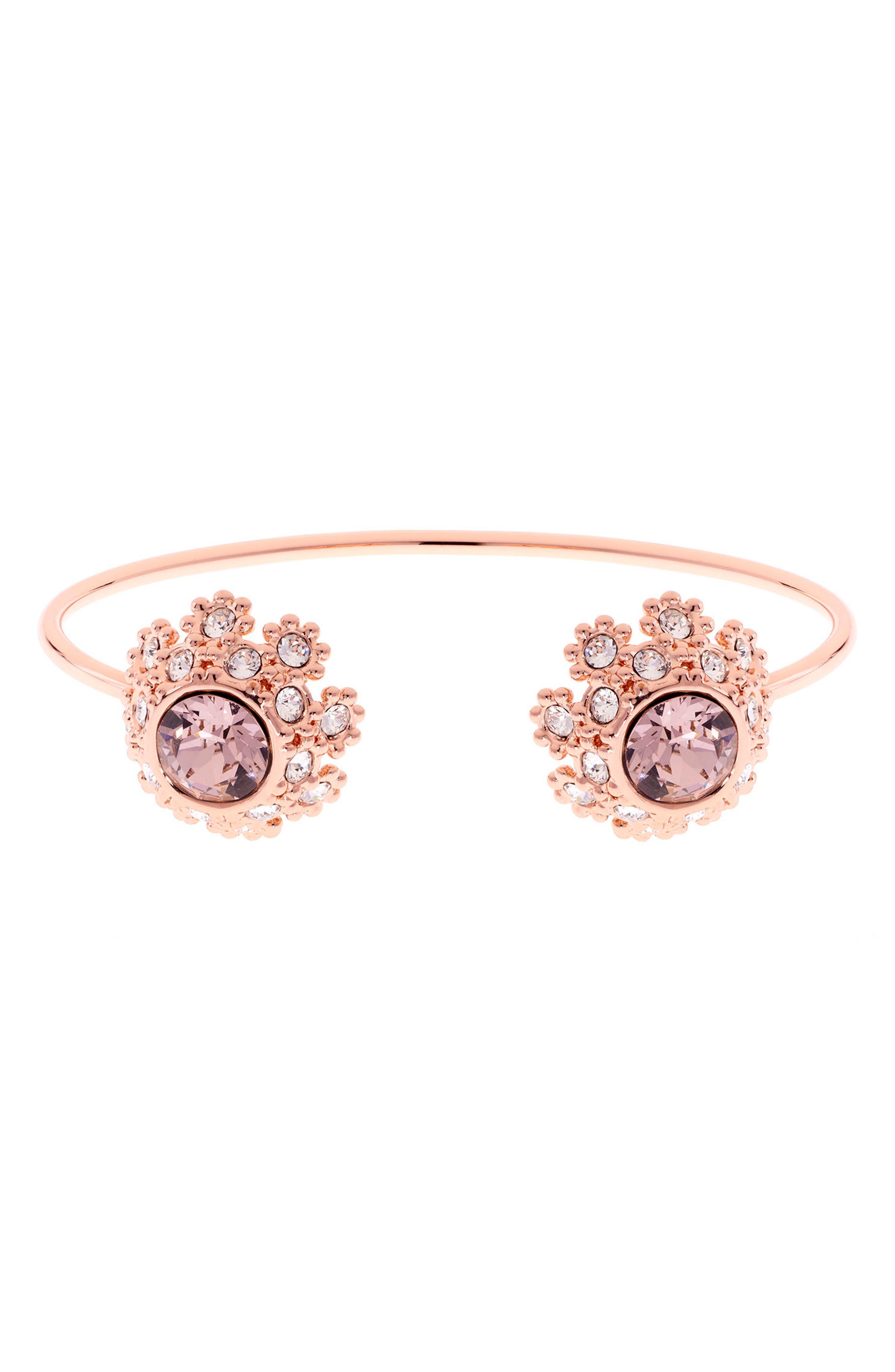 Crystal Daisy Lace Cuff Bracelet,                             Main thumbnail 3, color,