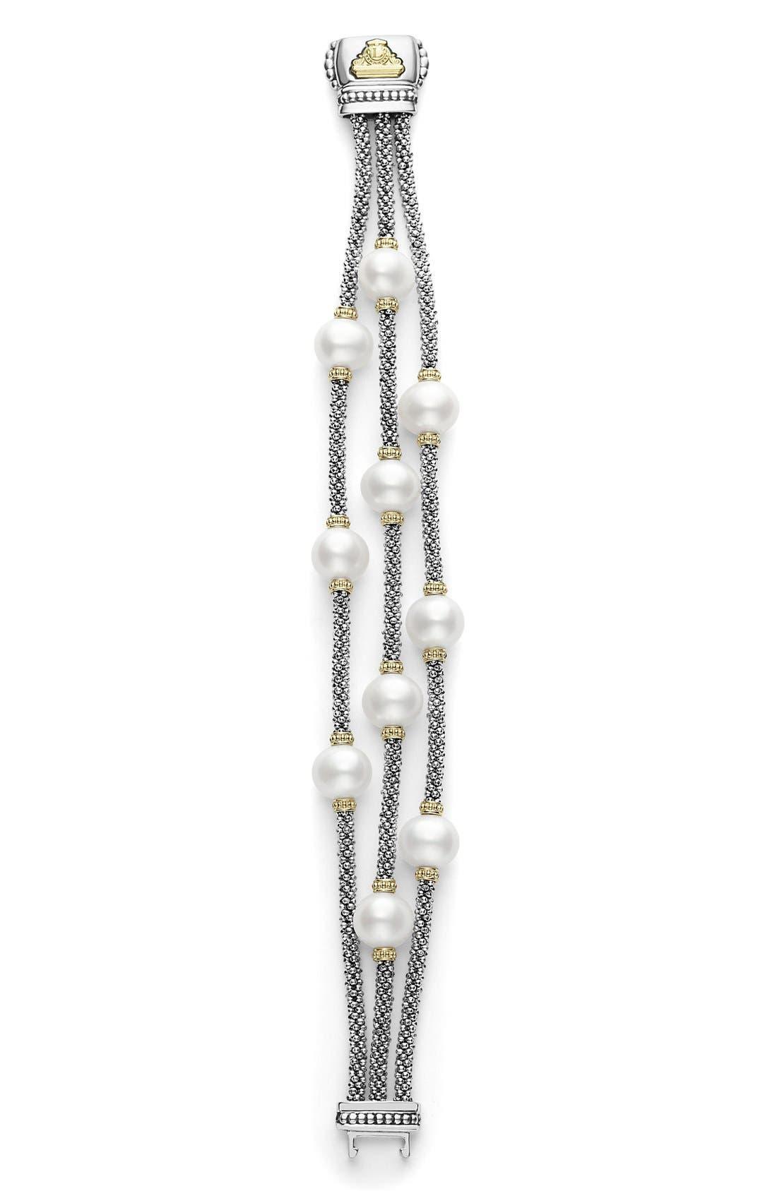 Luna Pearl Triple Strand Bracelet,                             Alternate thumbnail 3, color,                             040