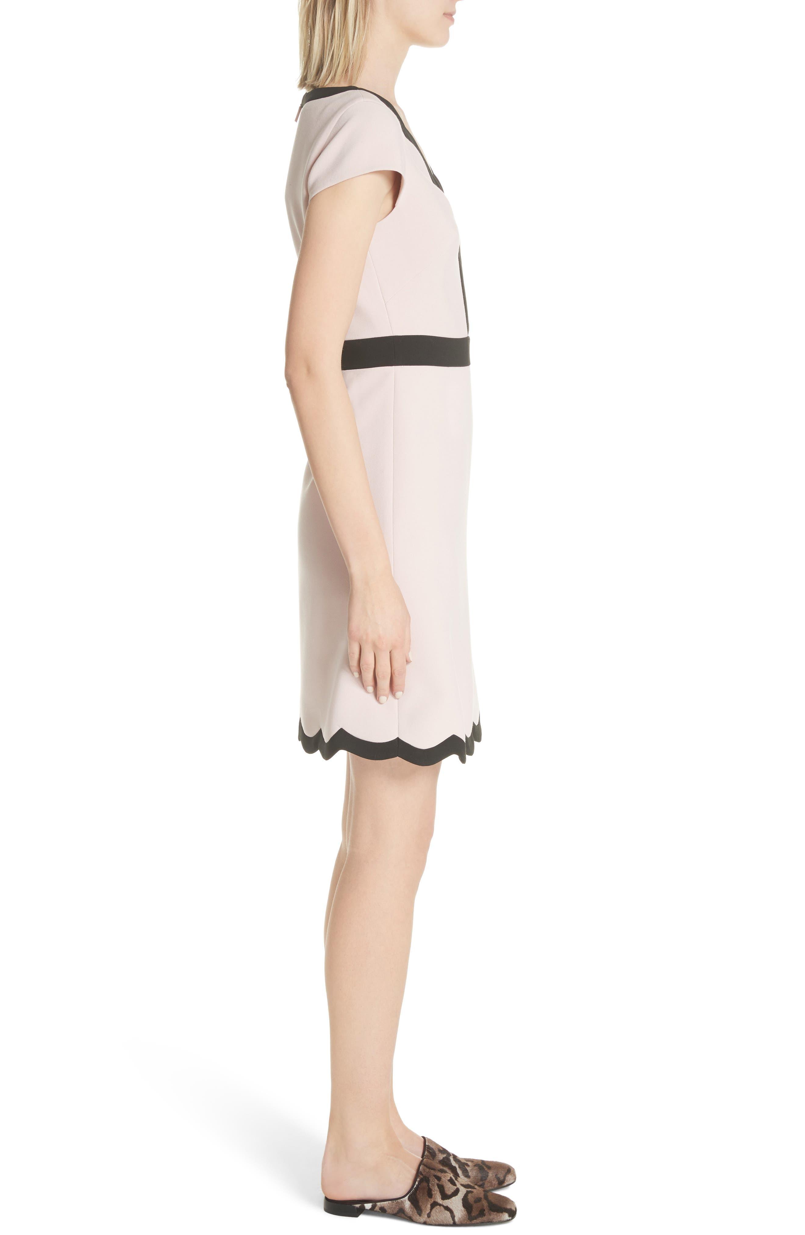 scallop cap sleeve dress,                             Alternate thumbnail 3, color,                             663
