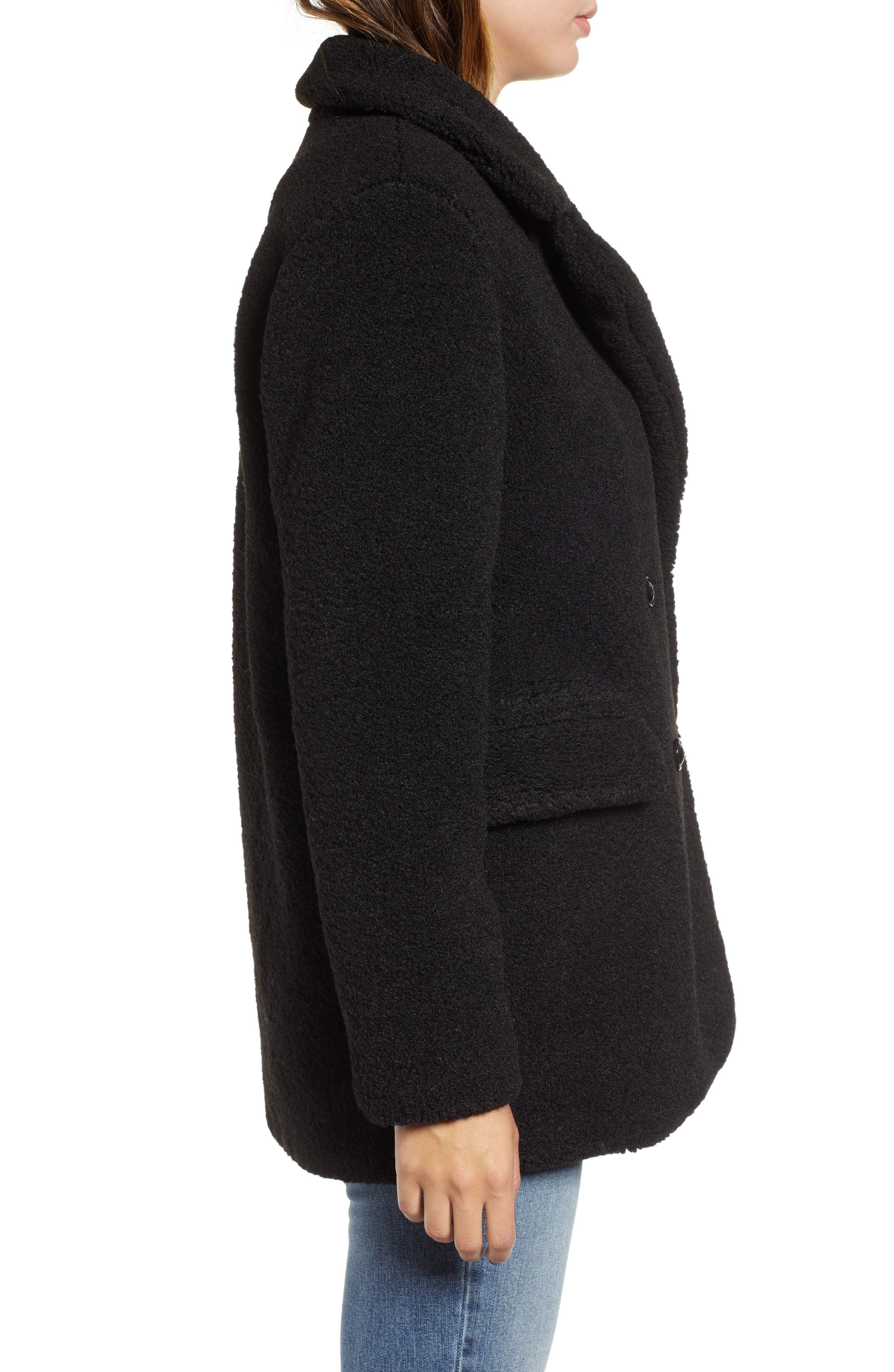 Textured Double Breasted Coat,                             Alternate thumbnail 3, color,                             BLACK