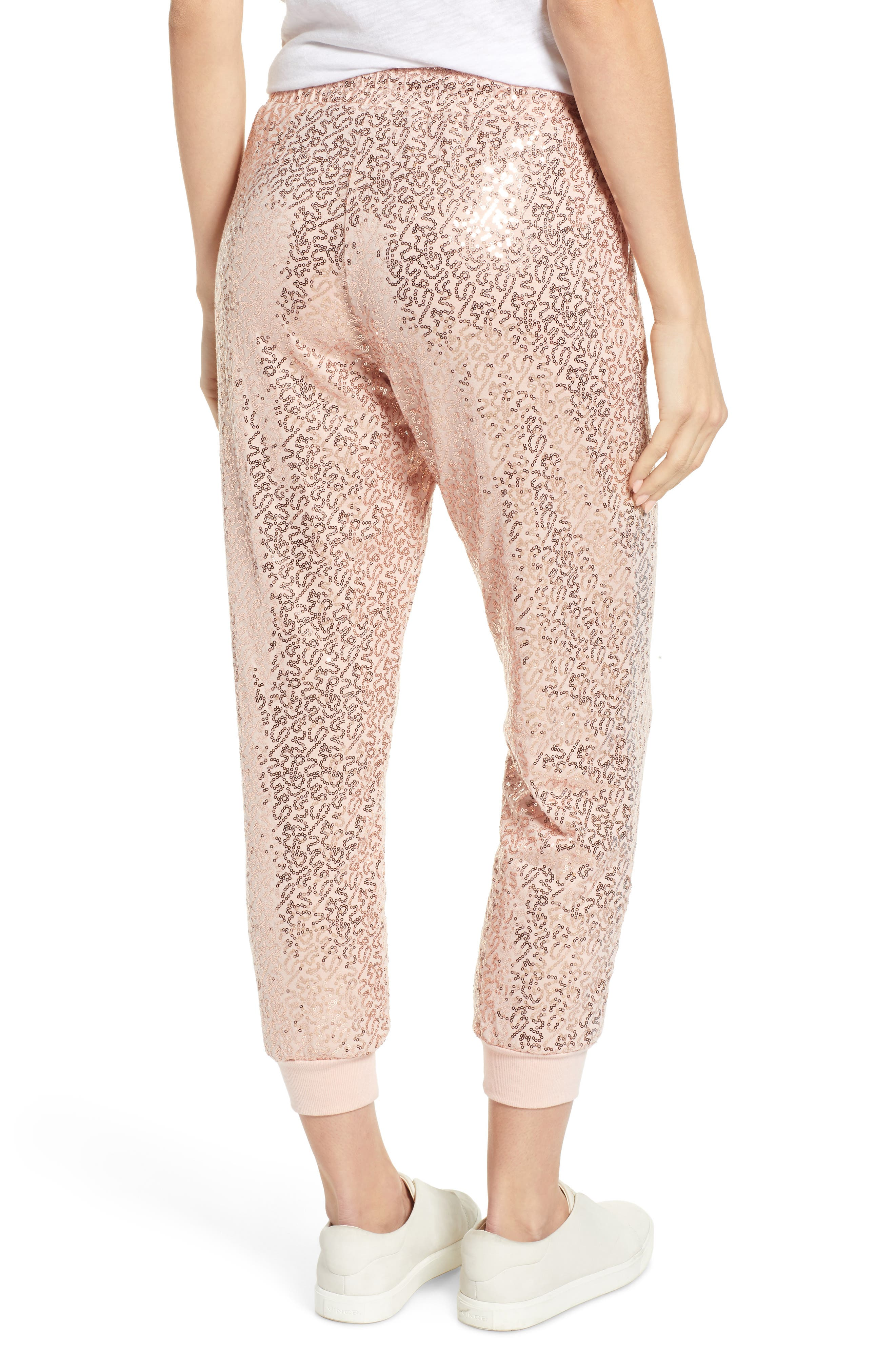 x Glam Squad Ashley Sequin Jogger Pants,                             Alternate thumbnail 3, color,                             ROSE GOLD