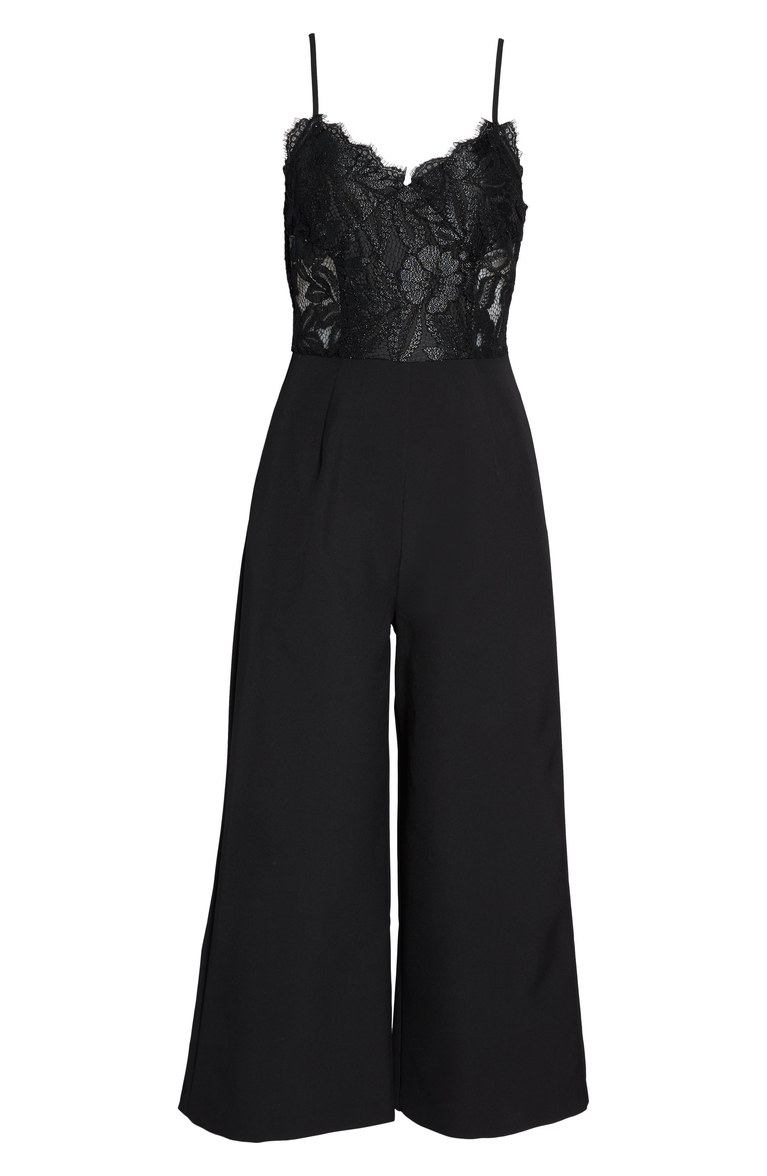 Josephine Wide Leg Crop Lace Jumpsuit,                             Alternate thumbnail 7, color,                             BLACK