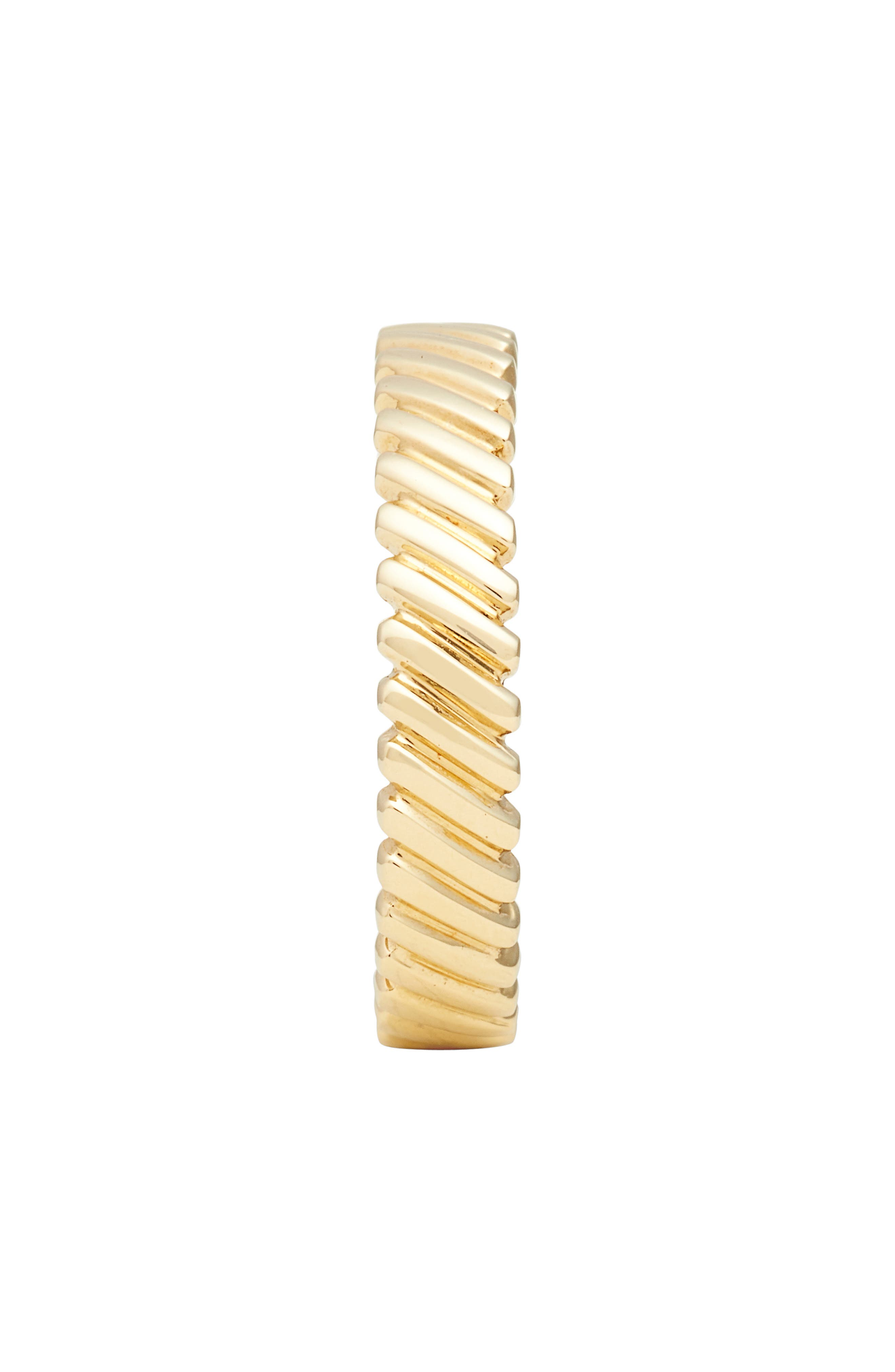 Oblique Beveled Stackable Ring,                             Alternate thumbnail 2, color,                             YELLOW GOLD