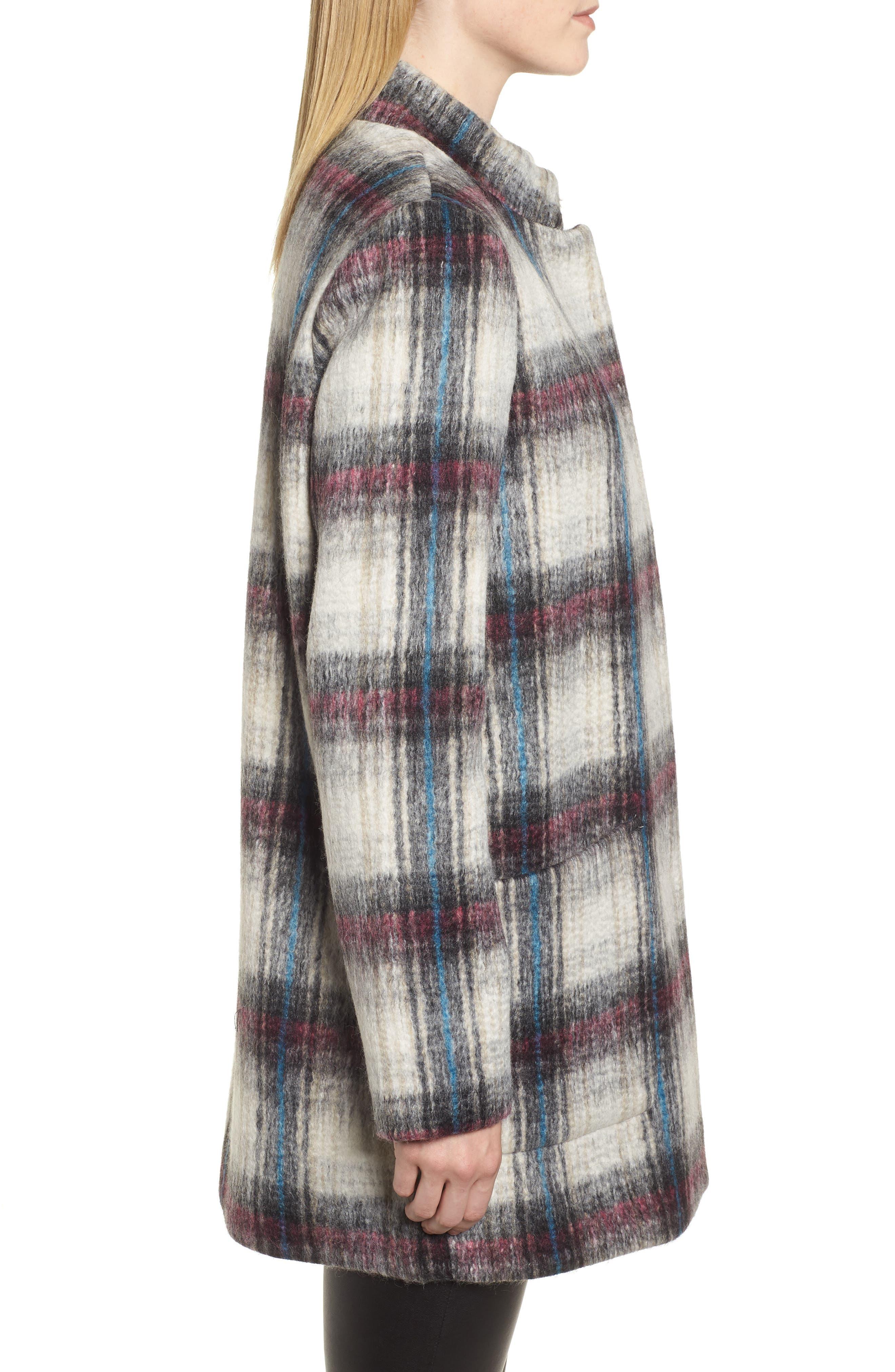 Drop Shoulder Plaid Wool Blend Coat,                             Alternate thumbnail 3, color,                             250