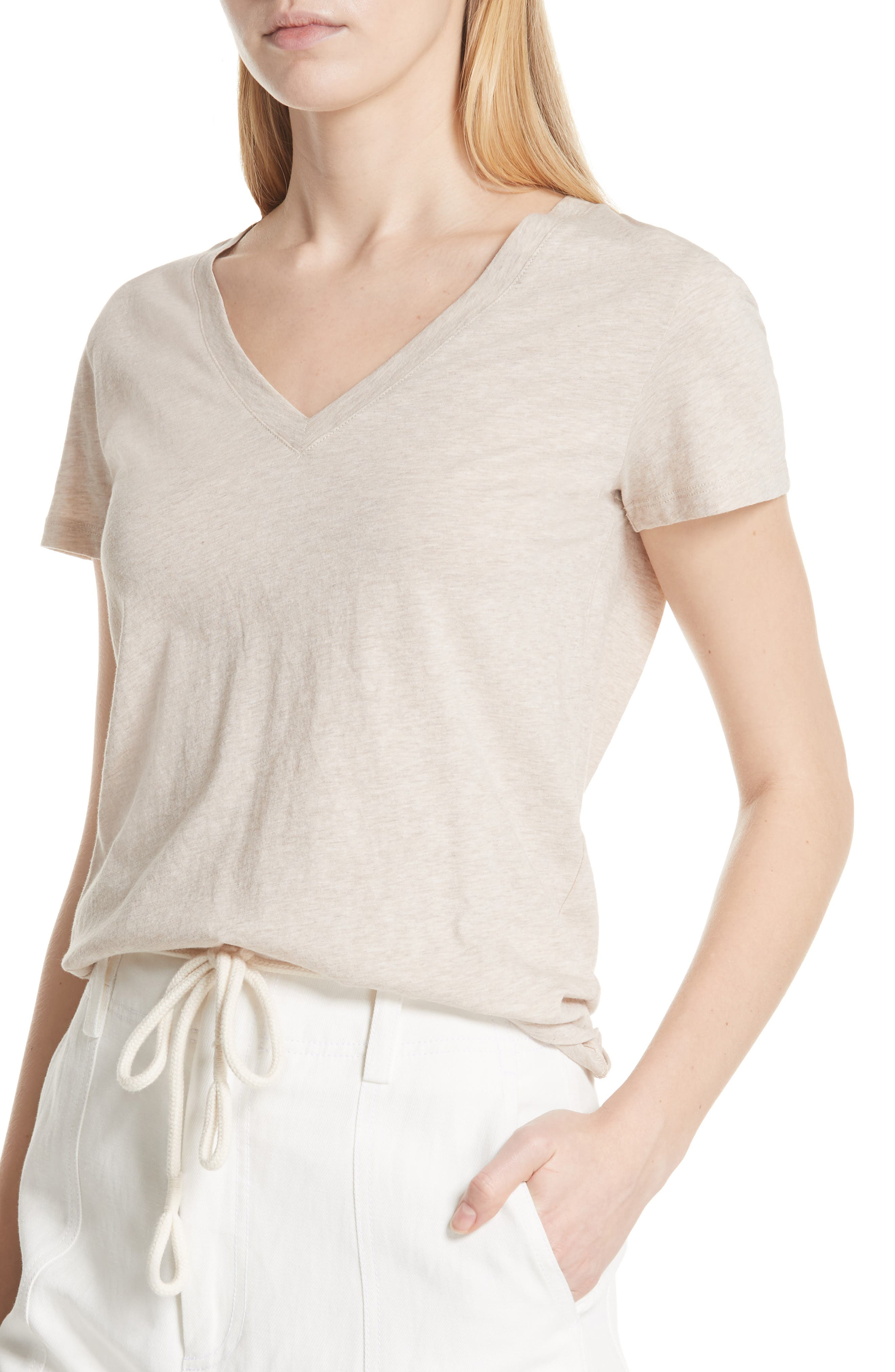 Essential Pima Cotton V-Neck Tee,                             Alternate thumbnail 4, color,                             259