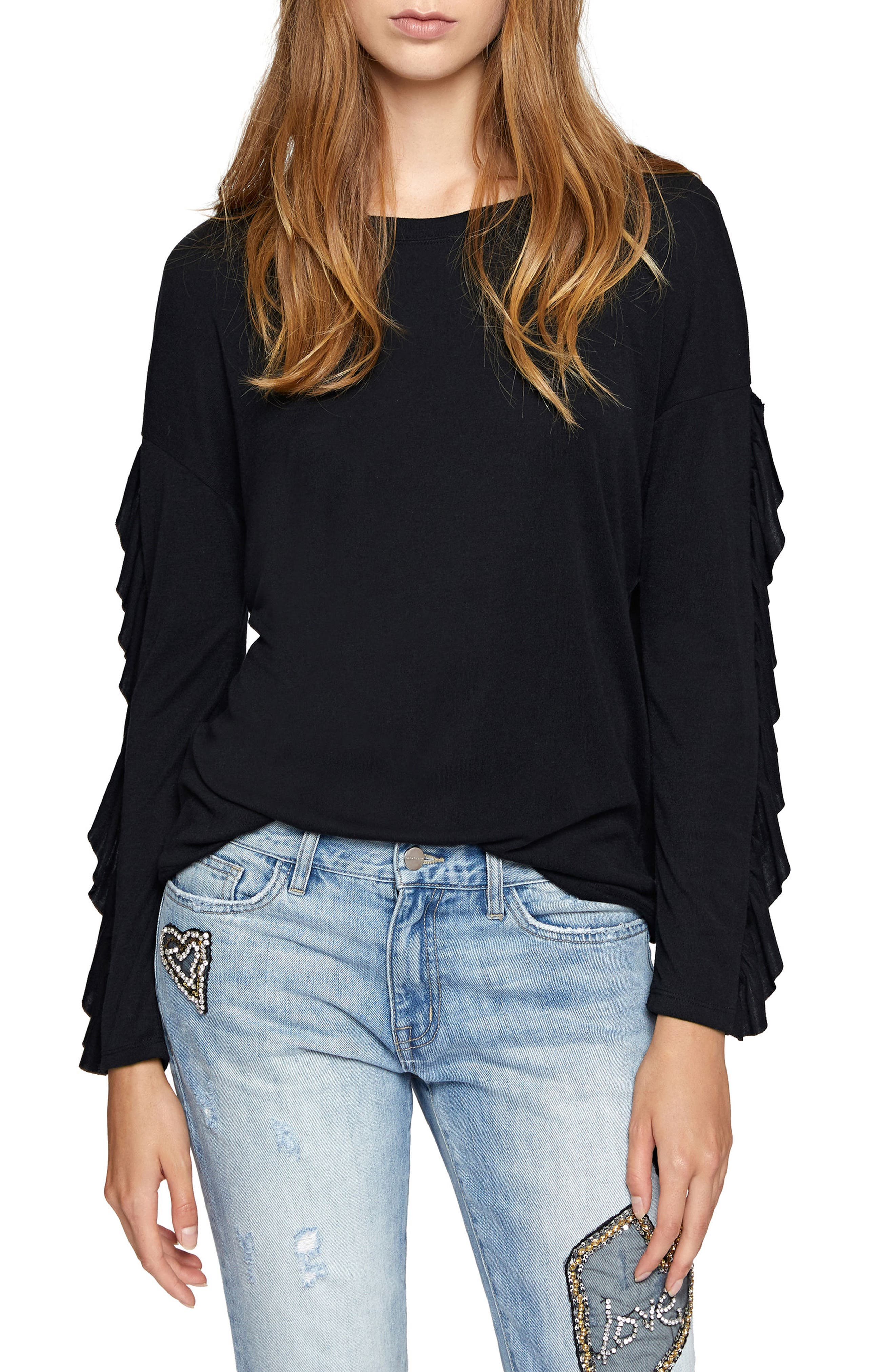 Leona Ruffle Sleeve Sweater,                         Main,                         color, 001