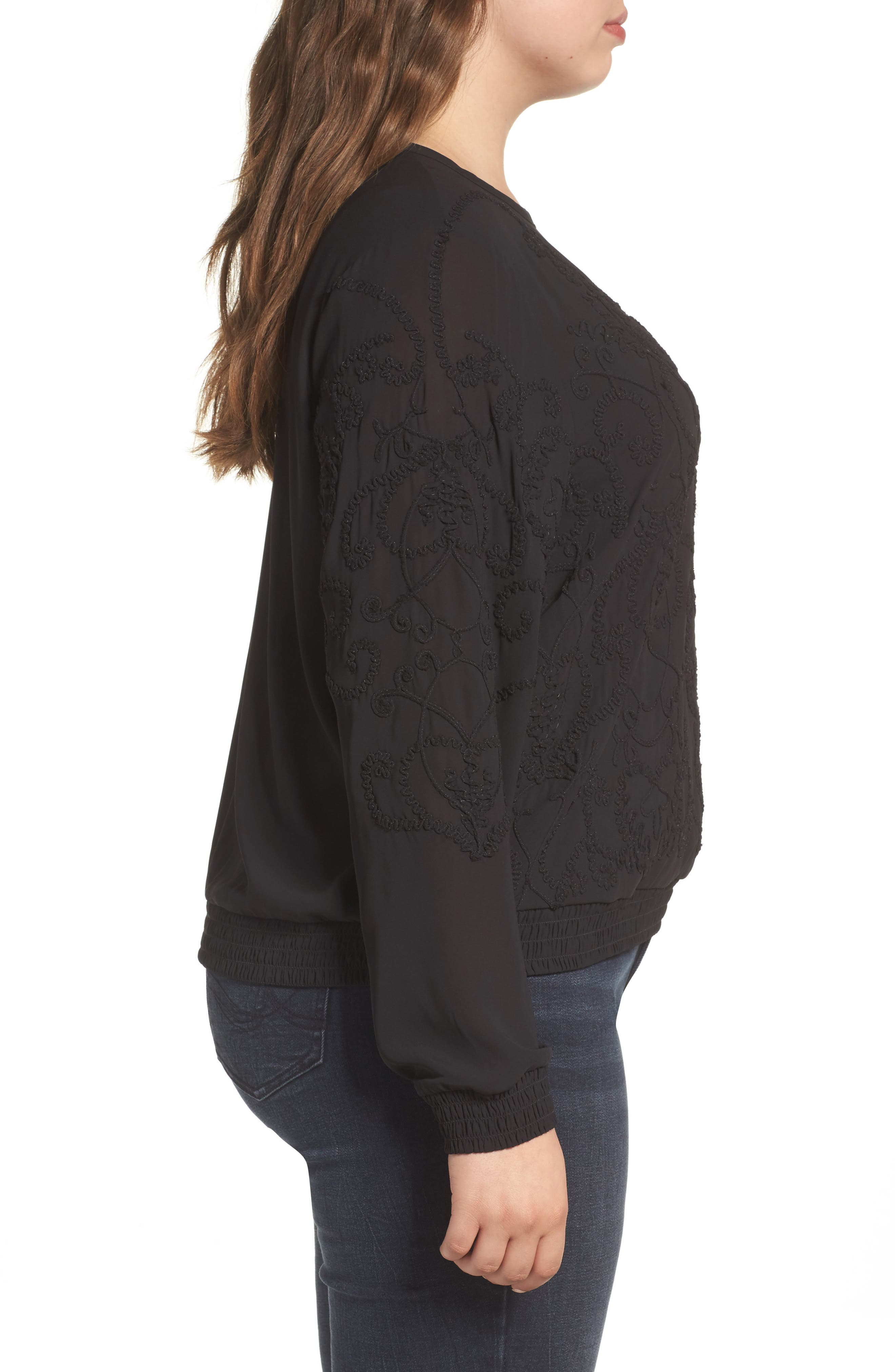 Embroidered Georgette Top,                             Alternate thumbnail 3, color,                             002