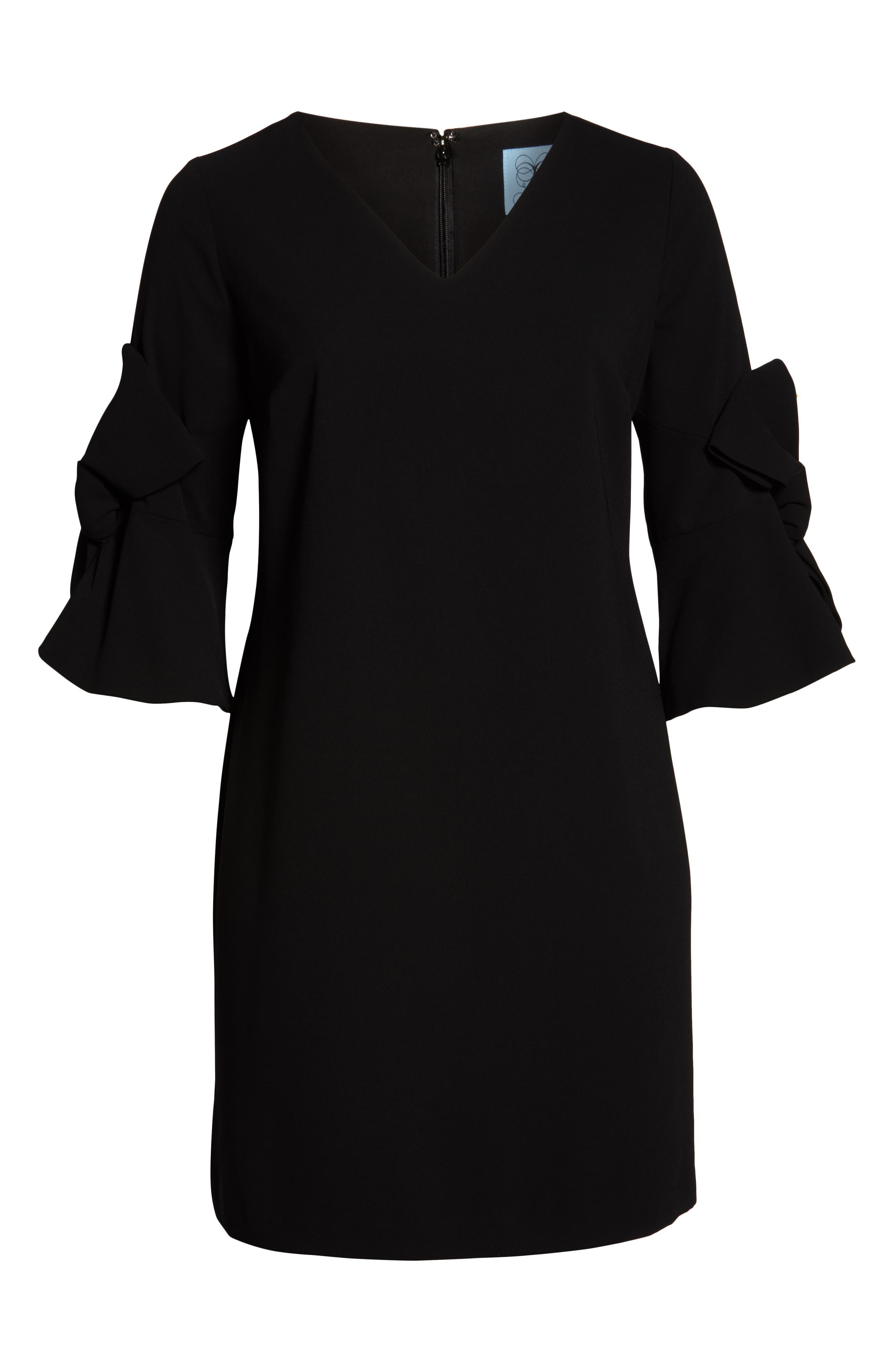 Moss Crepe Bow Shift Dress,                             Alternate thumbnail 7, color,                             RICH BLACK