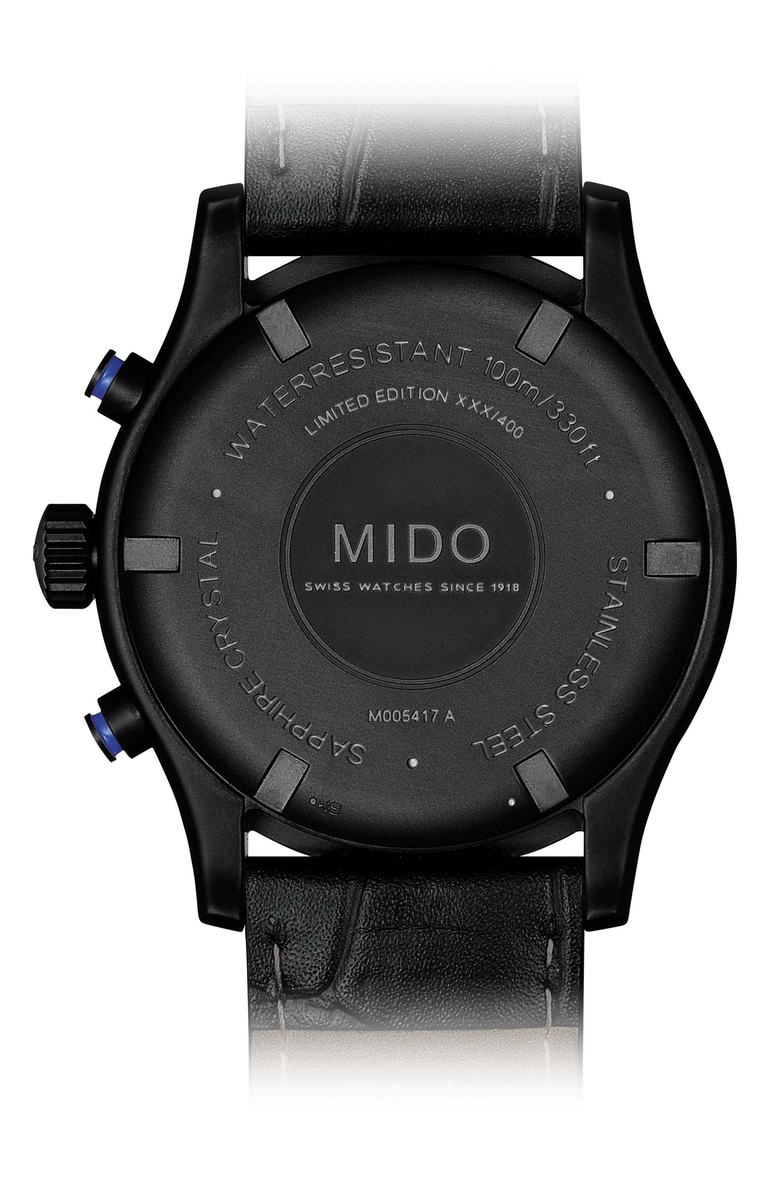 MIDO,                             Multifort Chronograph Leather Strap Watch, 42mm,                             Alternate thumbnail 2, color,                             BLACK/ SILVER