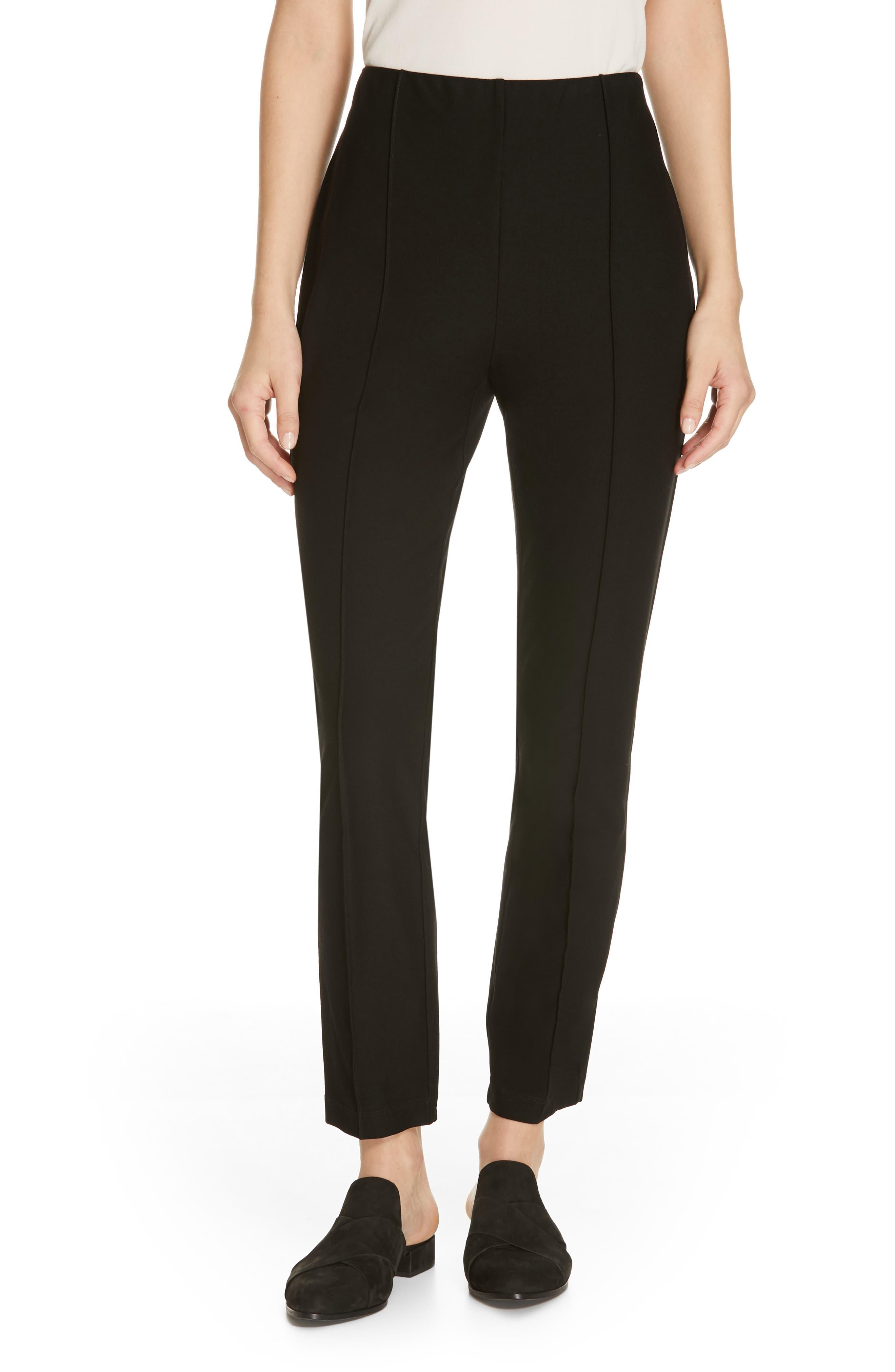 High Waist Slim Ankle Pants, Main, color, BLACK