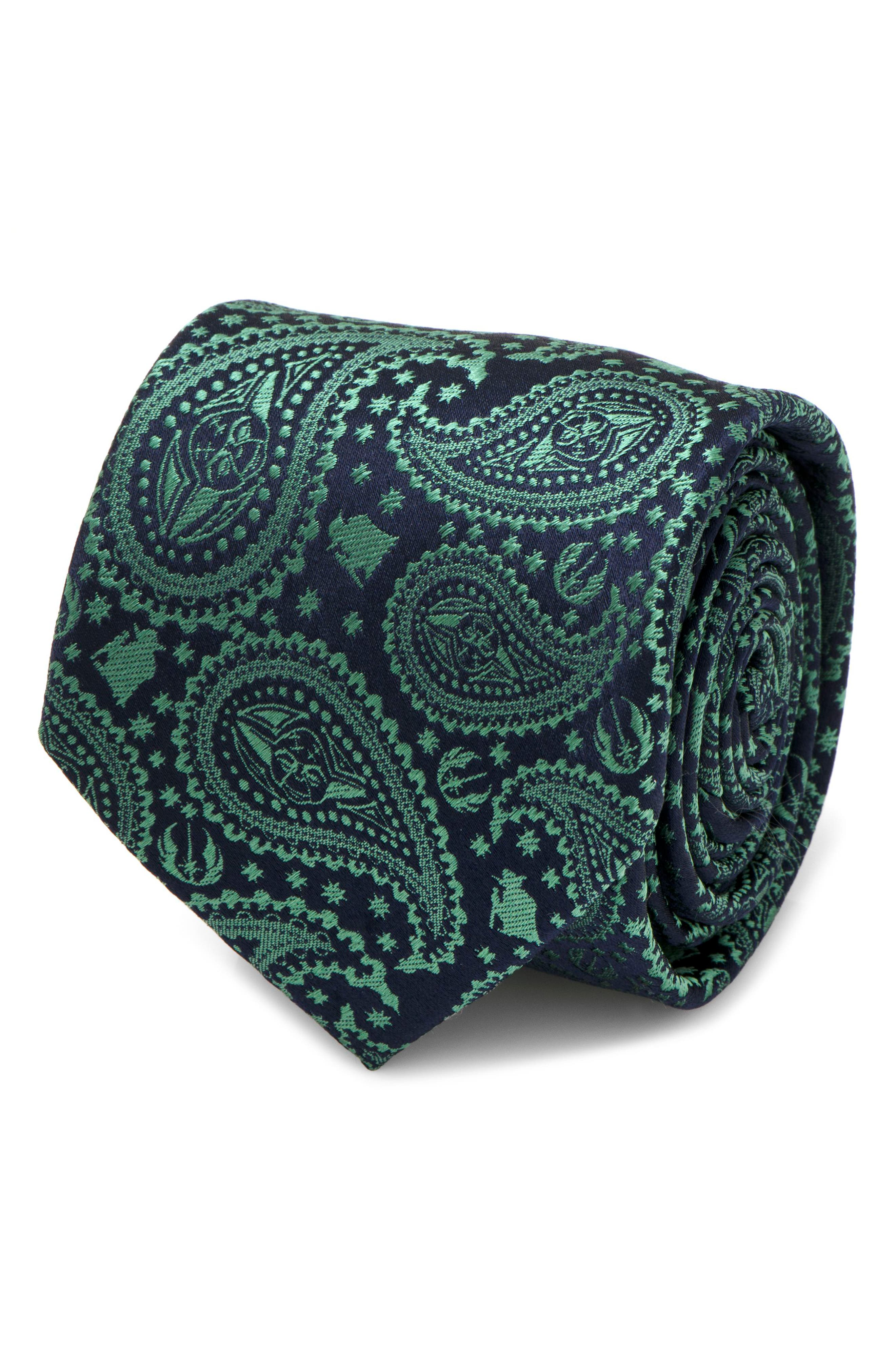 Yoda Paisley Silk Tie,                             Alternate thumbnail 4, color,                             GREEN