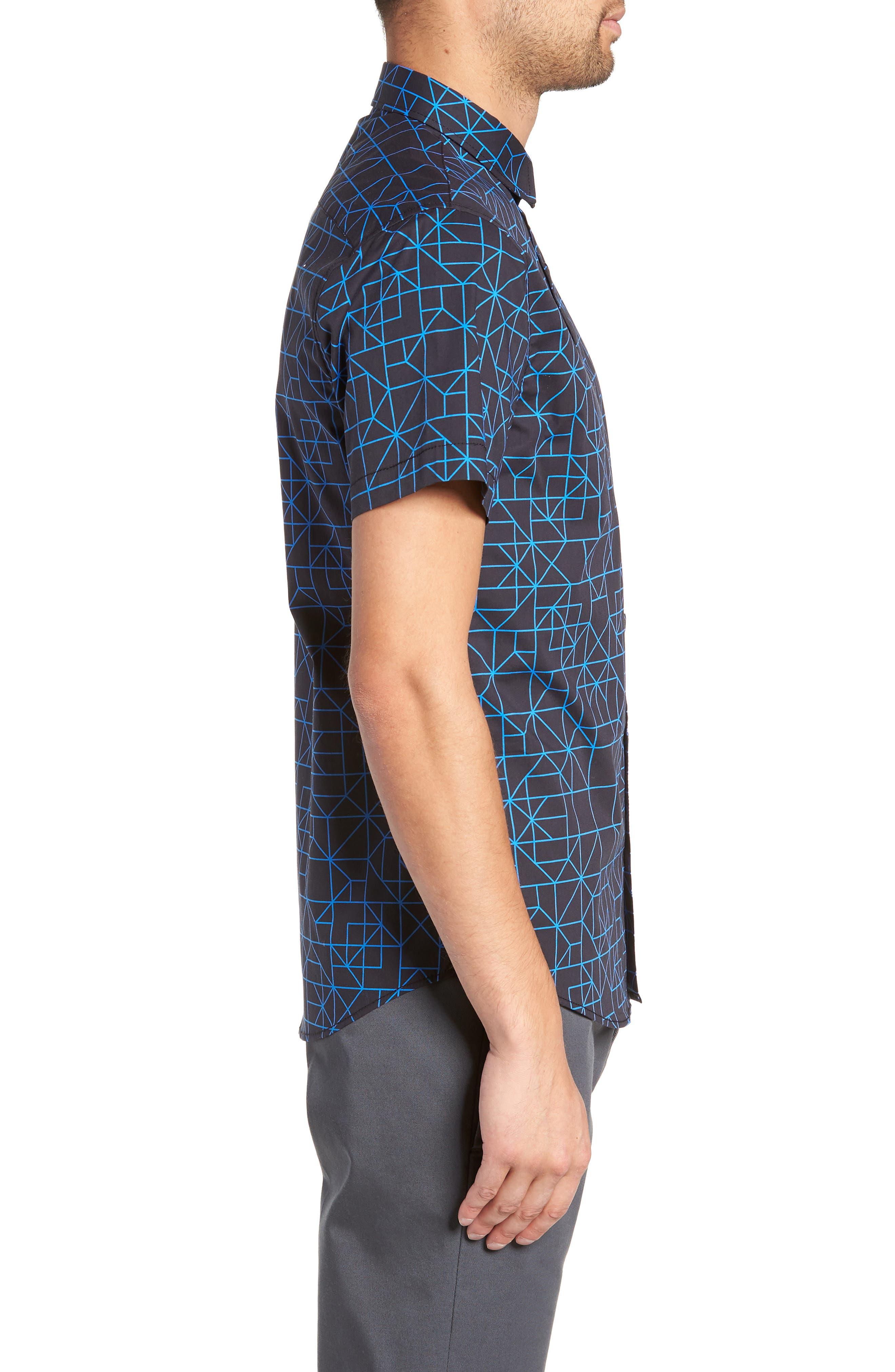 Print Sport Shirt,                             Alternate thumbnail 3, color,                             BLACK BLUE GRID GEO