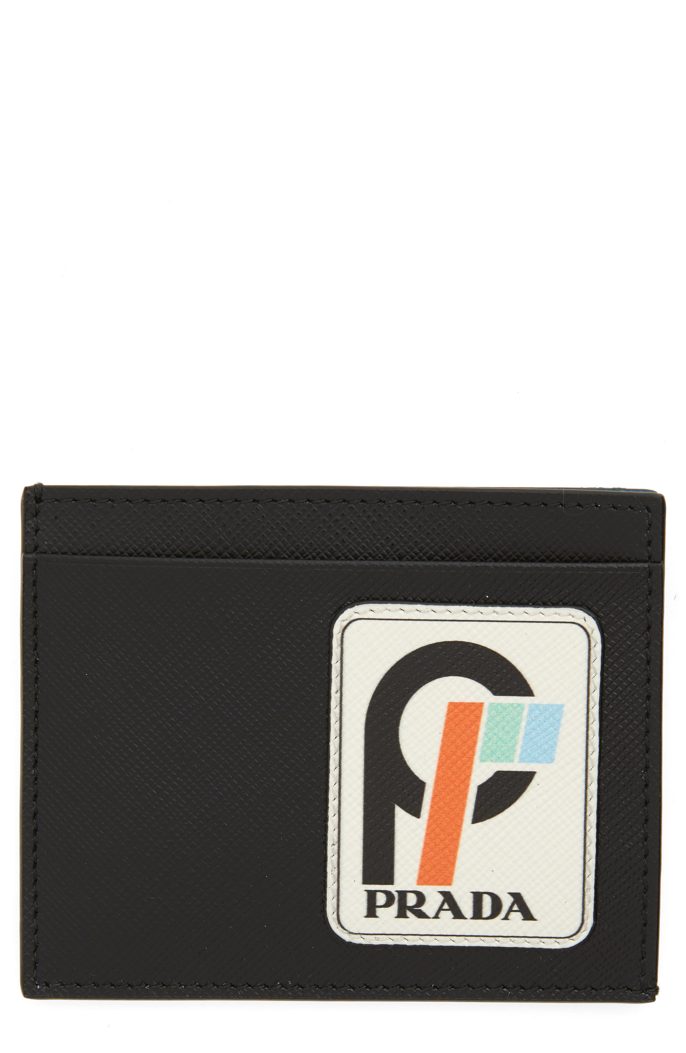 PRADA,                             Saffiano Leather Patch Card Case,                             Main thumbnail 1, color,                             001