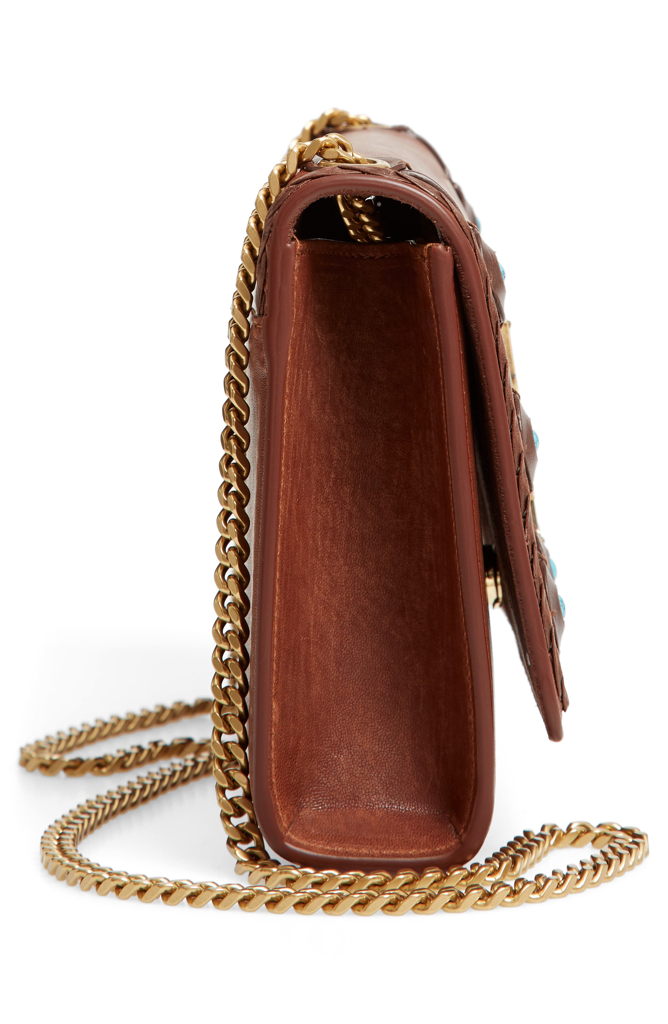 Medium Kate Studded Leather Crossbody Bag,                             Alternate thumbnail 5, color,                             BROWN MULTI