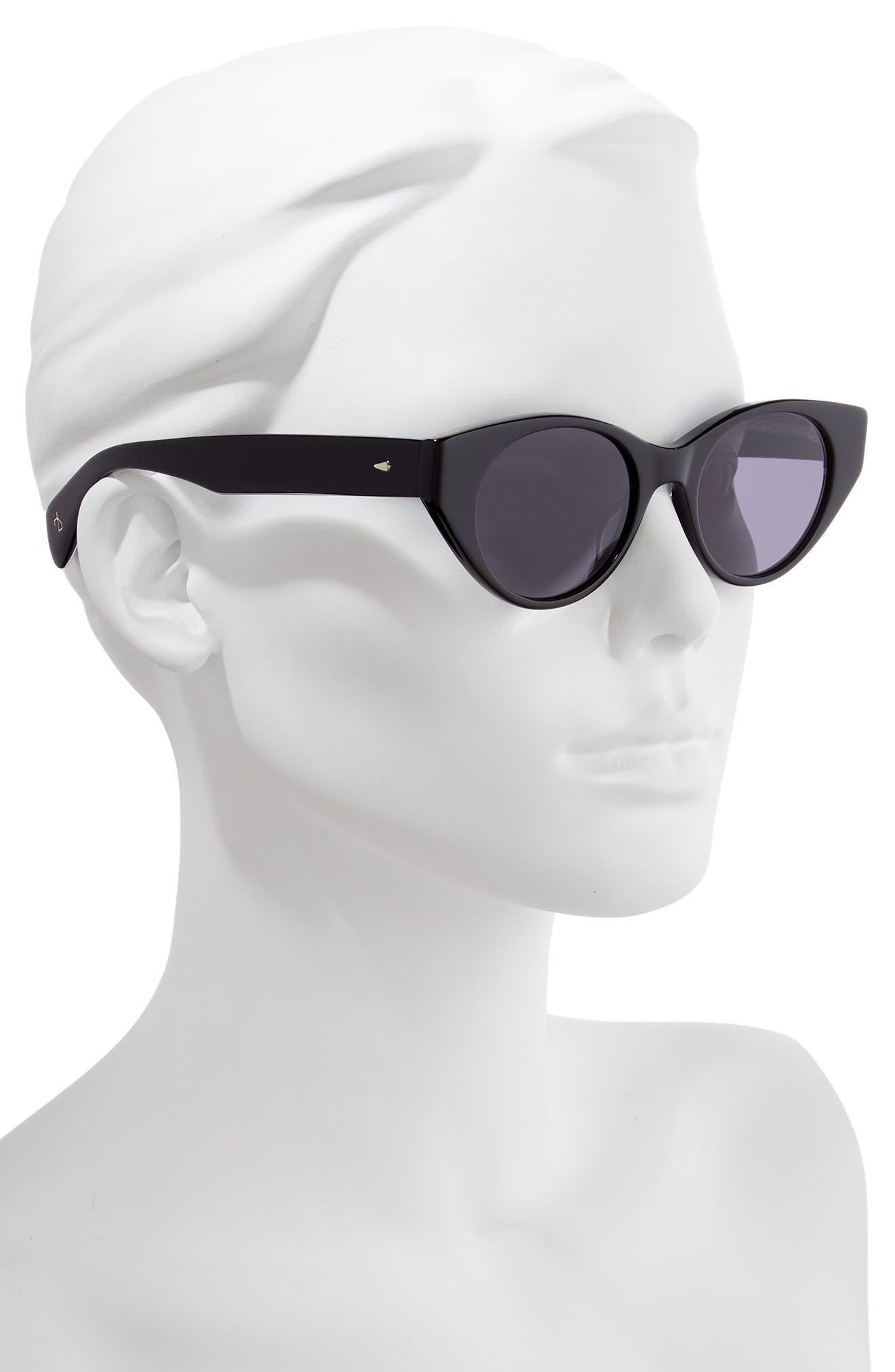 49mm Cat Eye Sunglasses,                             Alternate thumbnail 2, color,                             BLACK