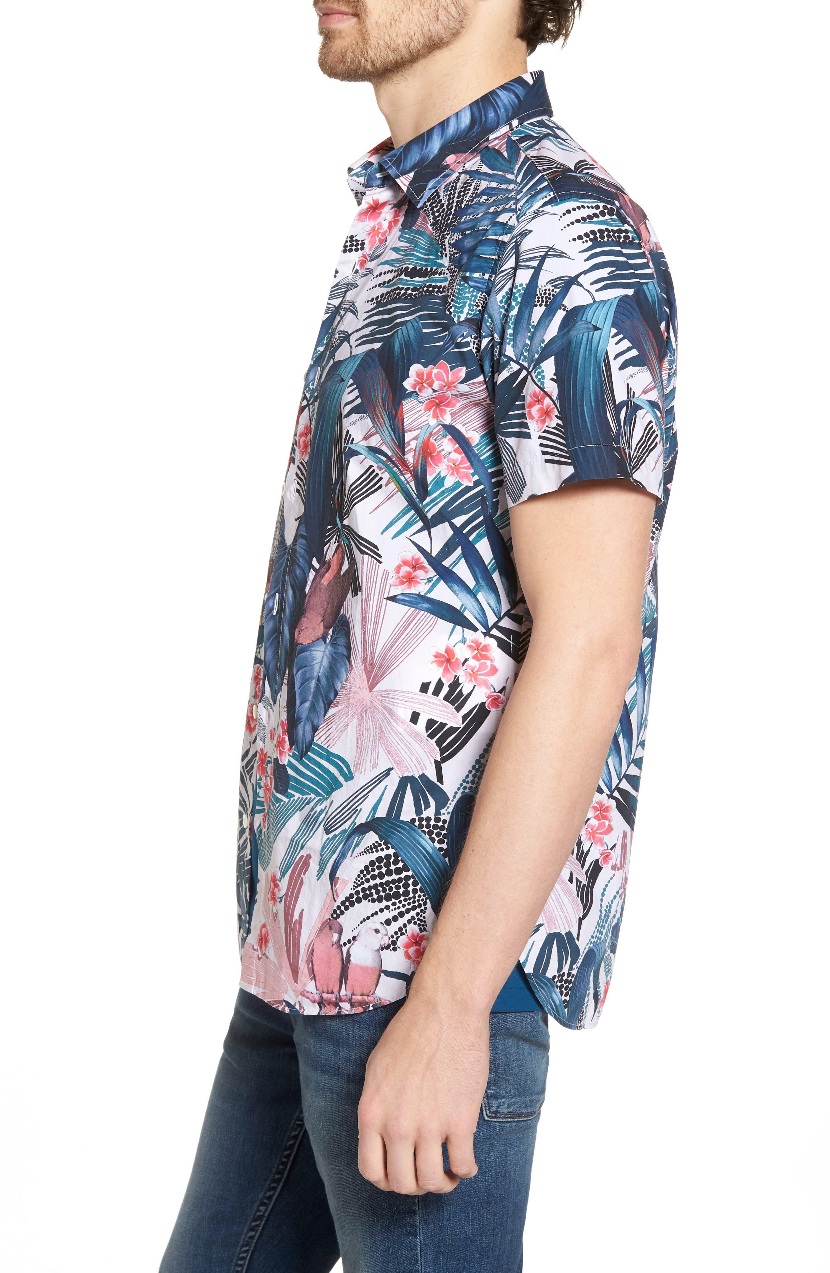 Premium Slim Fit Floral Print Sport Shirt,                             Alternate thumbnail 3, color,                             400