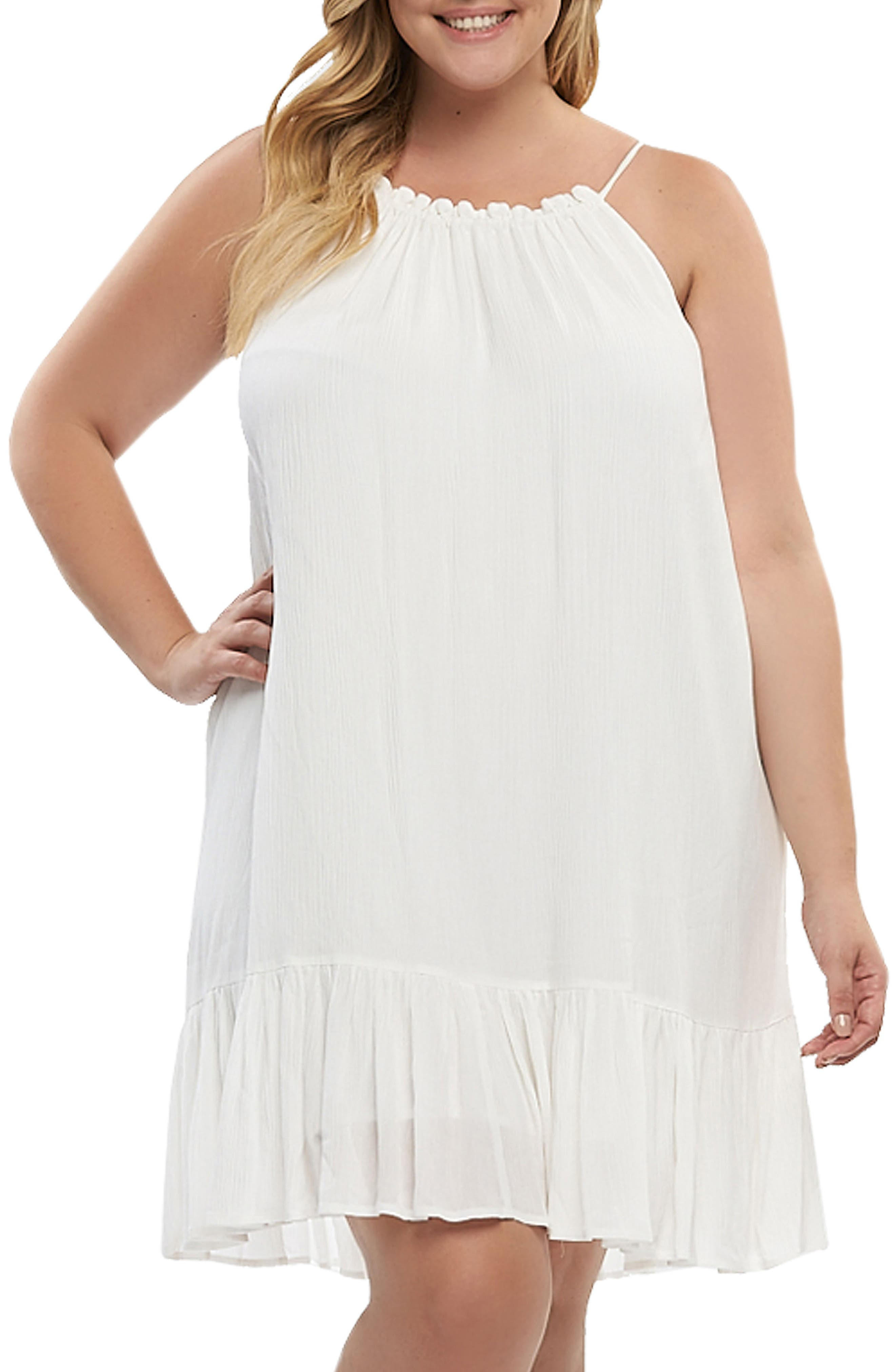 Plus Size Tart Liz Halter Top Baby Doll Dress, White