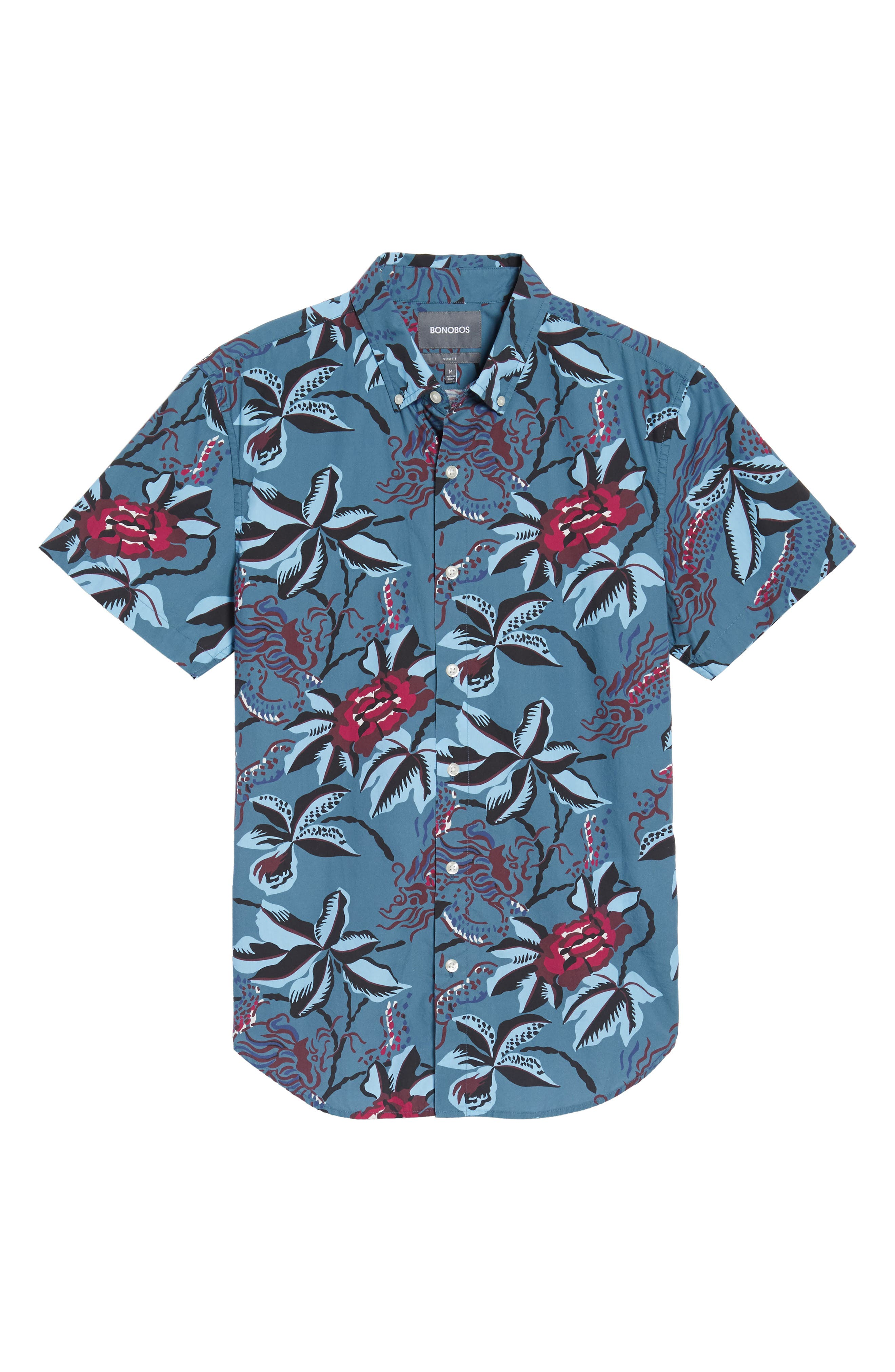Slim Fit Floral Print Sport Shirt,                             Alternate thumbnail 6, color,                             400