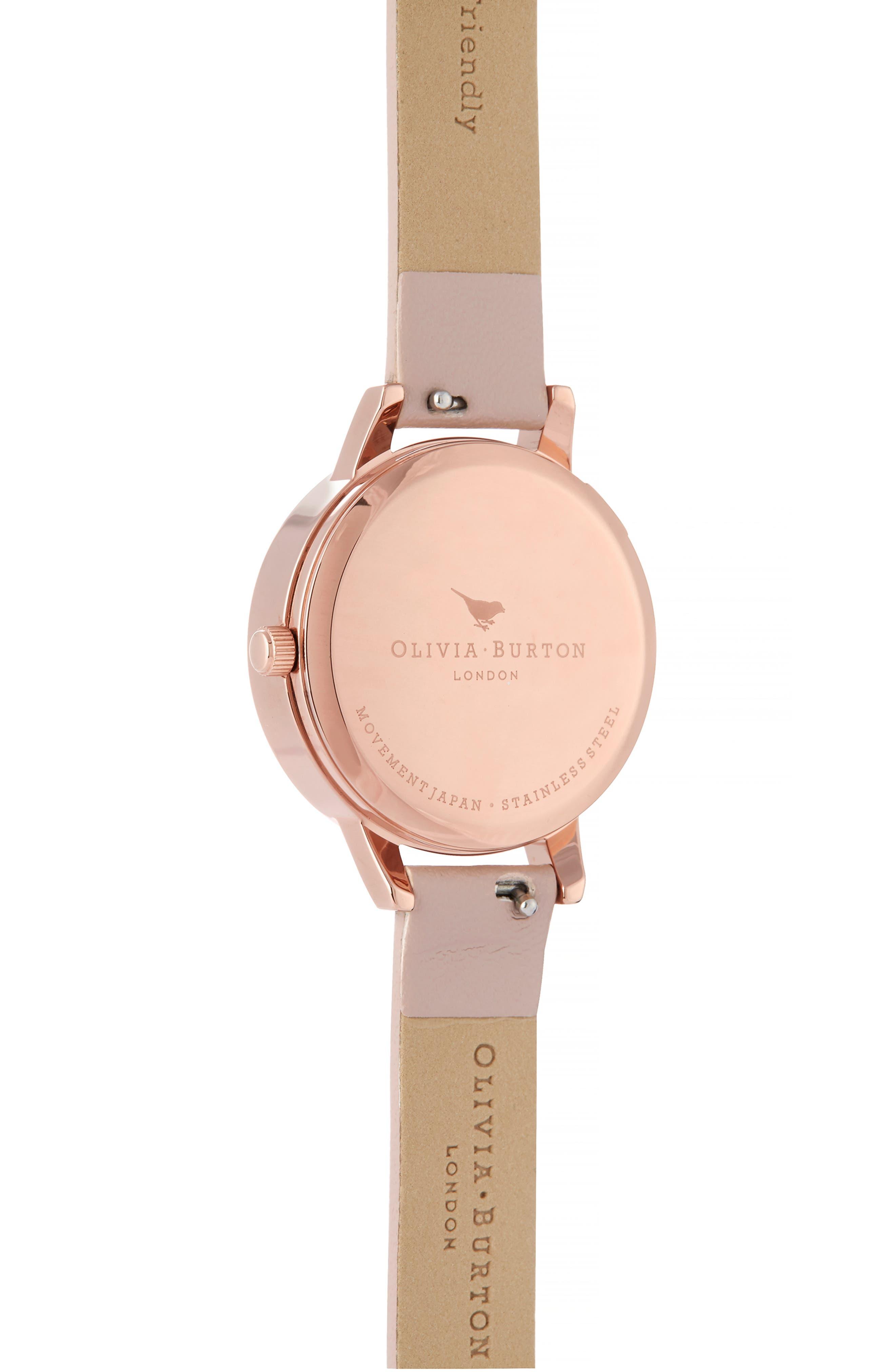 OLIVIA BURTON,                             Wishing Leather Strap Watch, 35mm,                             Alternate thumbnail 2, color,                             ROSE SAND/SILVER FLOR/ROSEGOLD