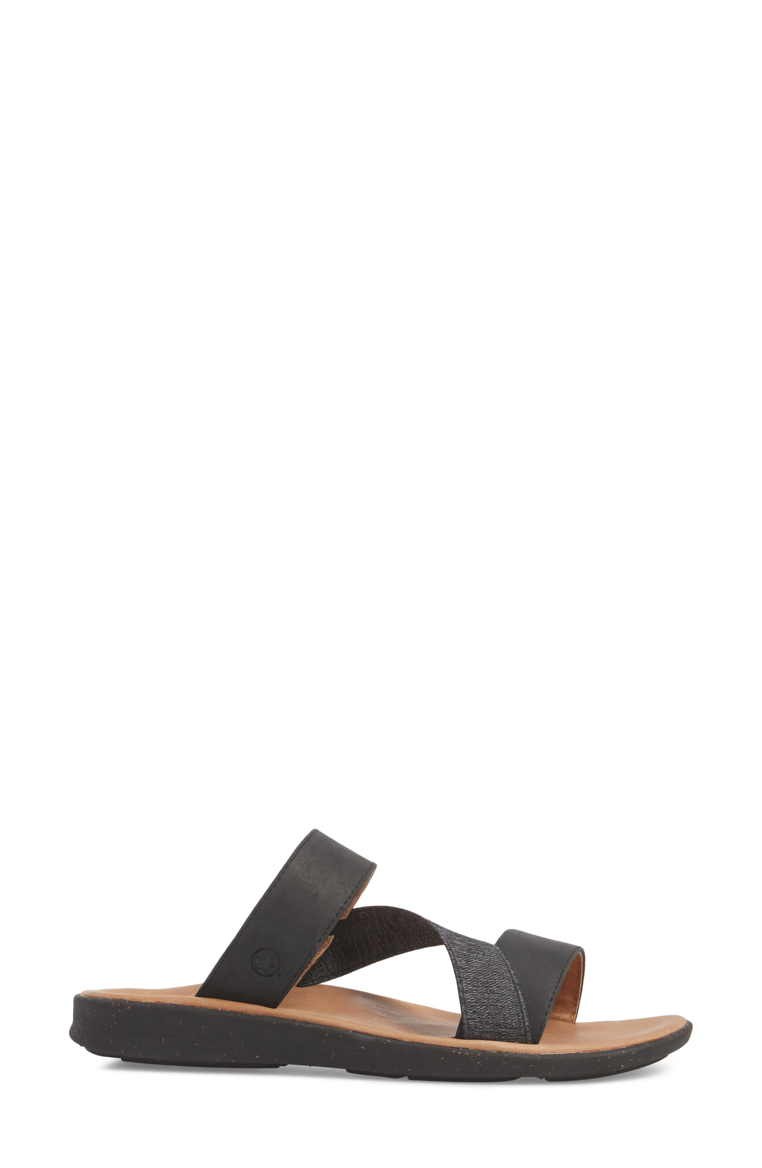 Reyes Slide Sandal,                             Alternate thumbnail 3, color,                             BLACK LEATHER