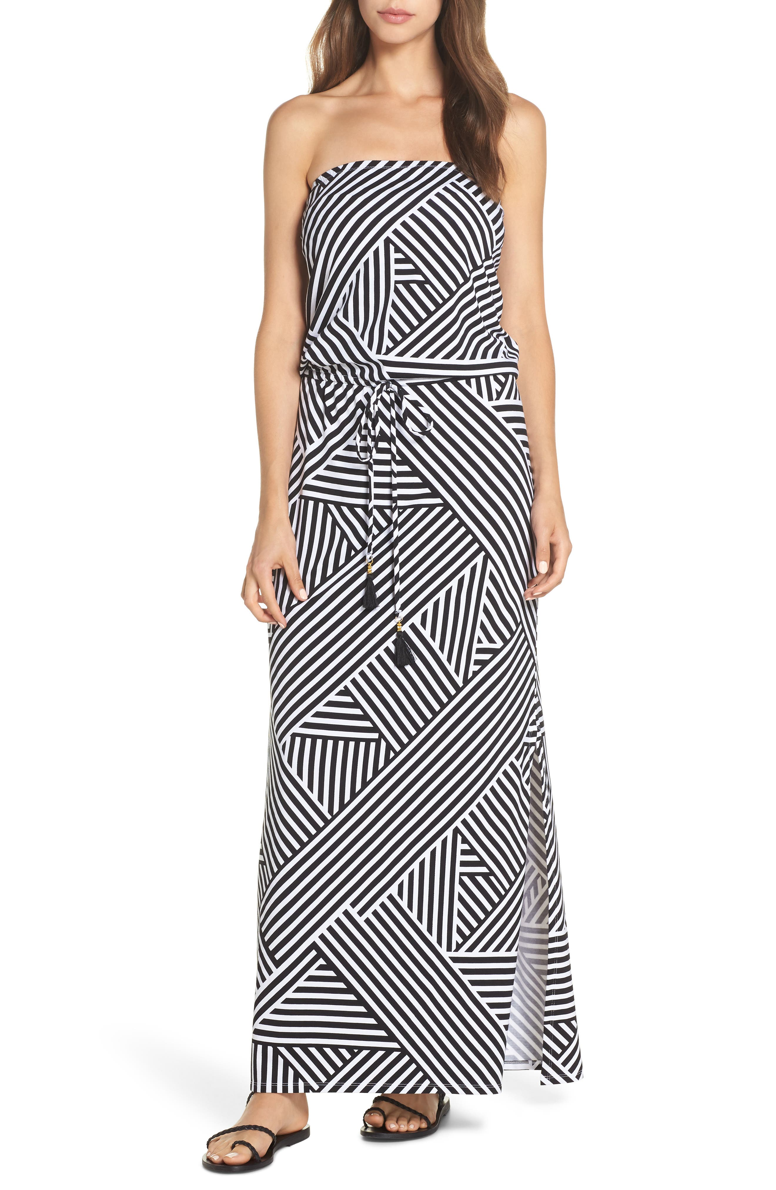 Fractured Stripe Bandeau Cover-Up Maxi Dress in Black/ White