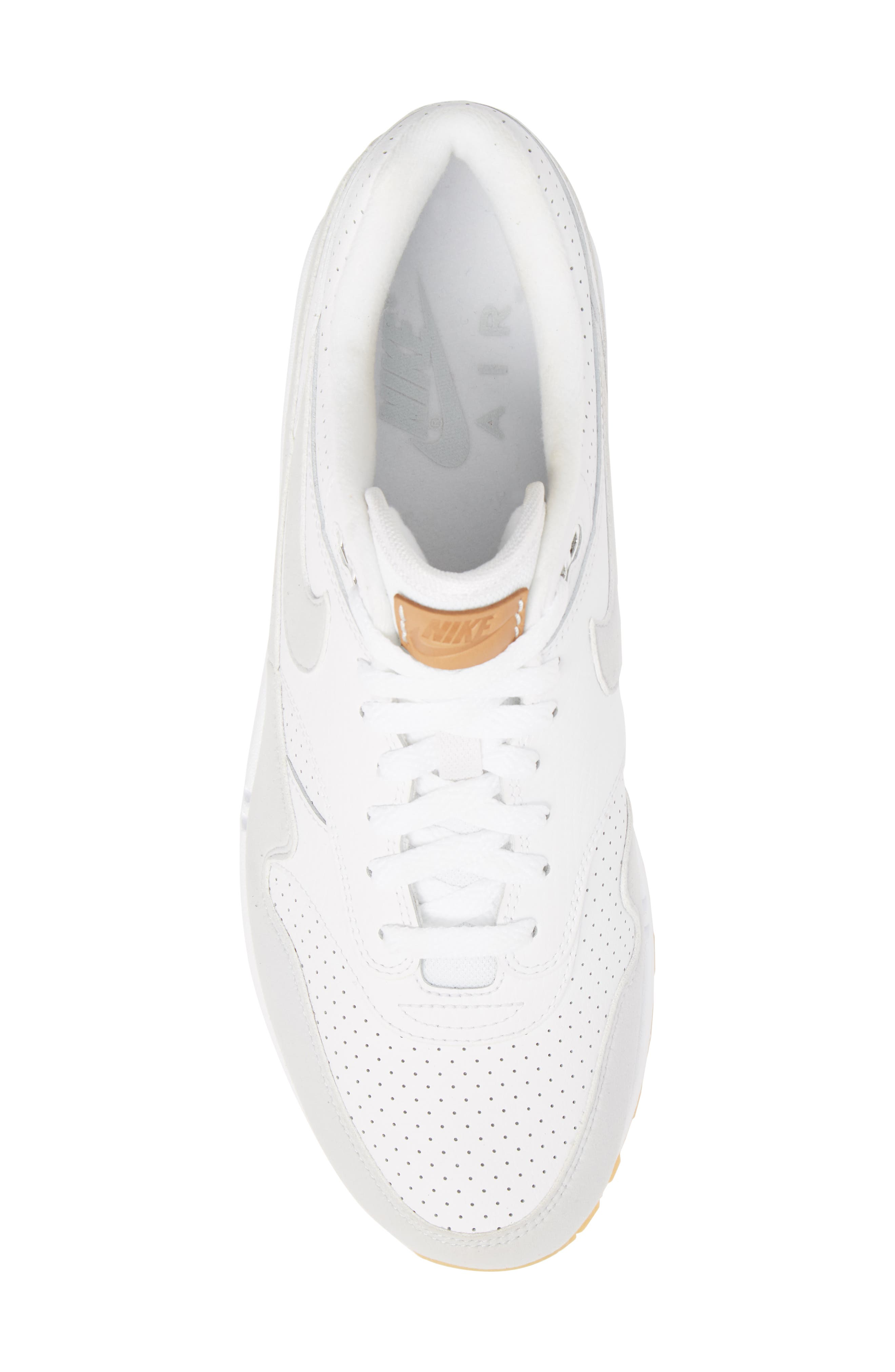 Air Max 1 Sneaker,                             Alternate thumbnail 5, color,                             WHITE/ PURE PLATINUM/ YELLOW