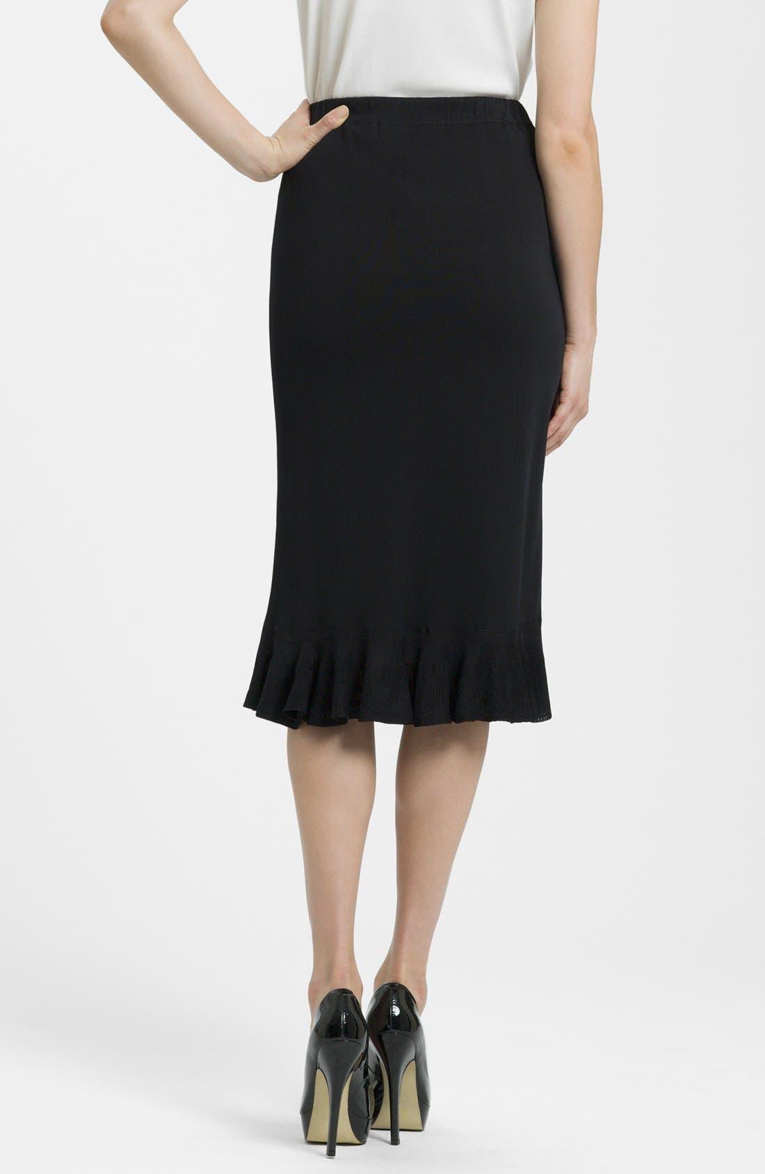 Ruffle Hem Knit Midi Skirt,                             Alternate thumbnail 2, color,                             BLACK