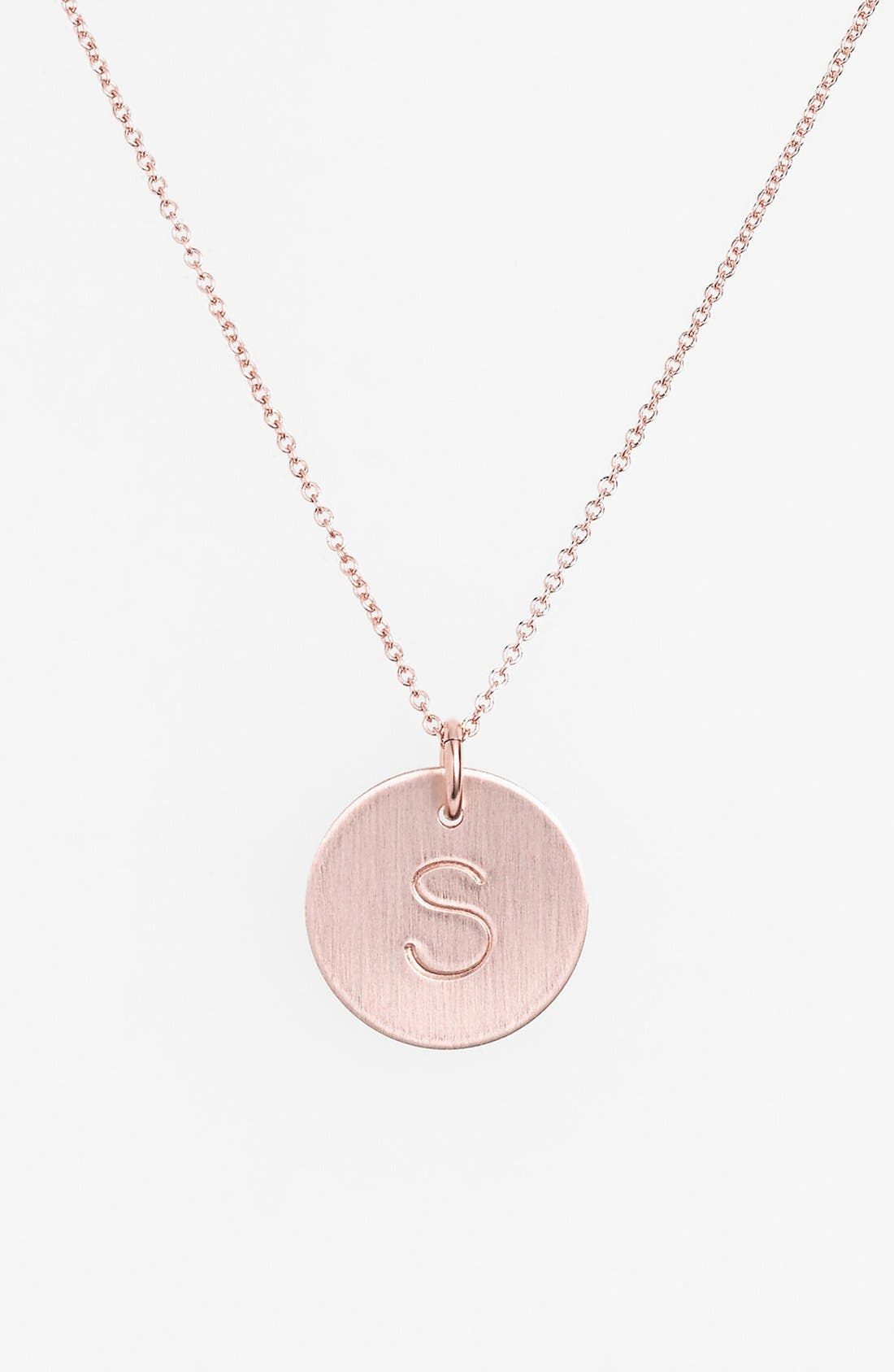 14k-Rose Gold Fill Initial Disc Necklace,                             Main thumbnail 19, color,