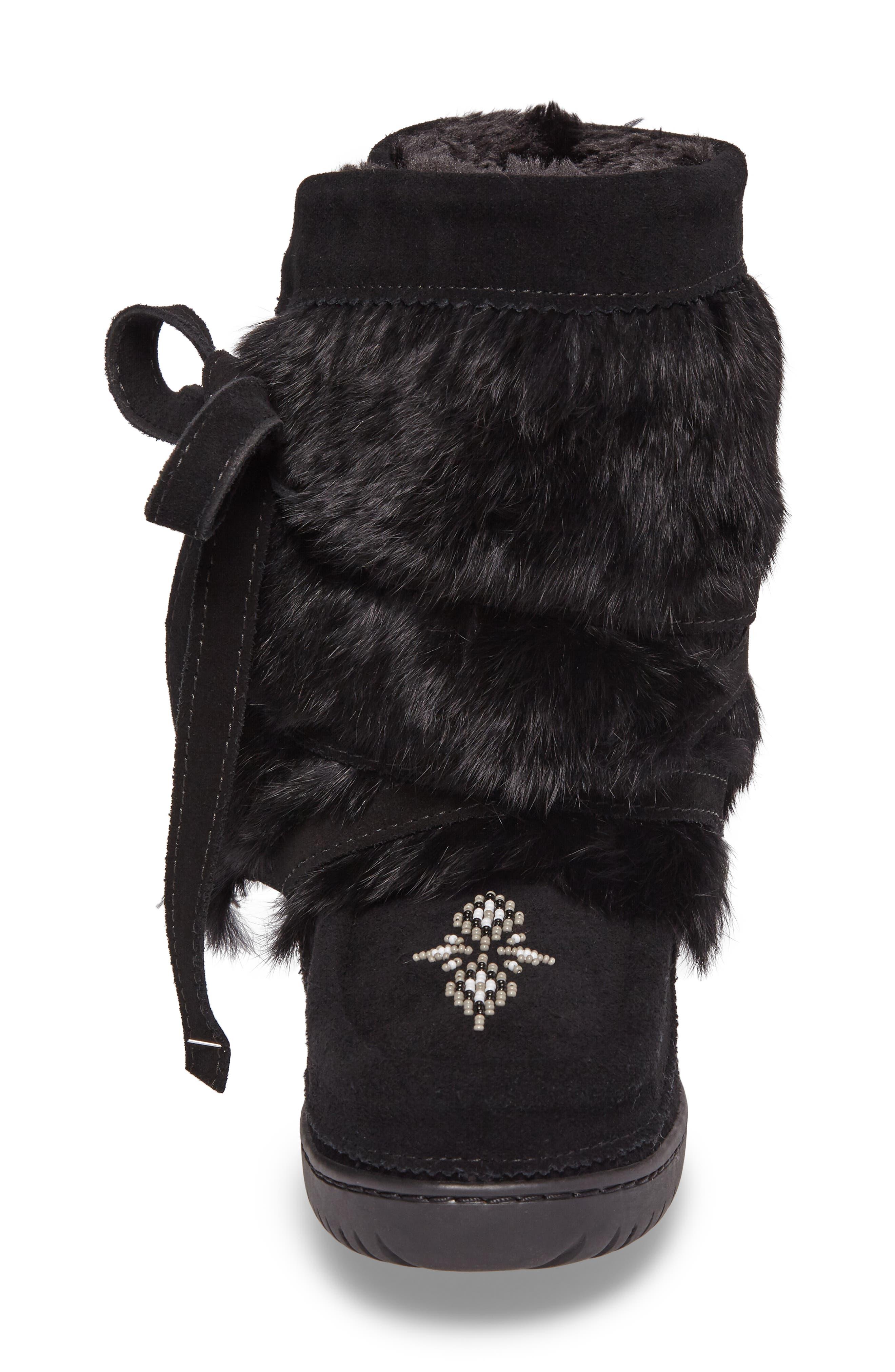 Beaded Short Wrap Genuine Rabbit Fur & Shearling Boot,                             Alternate thumbnail 7, color,