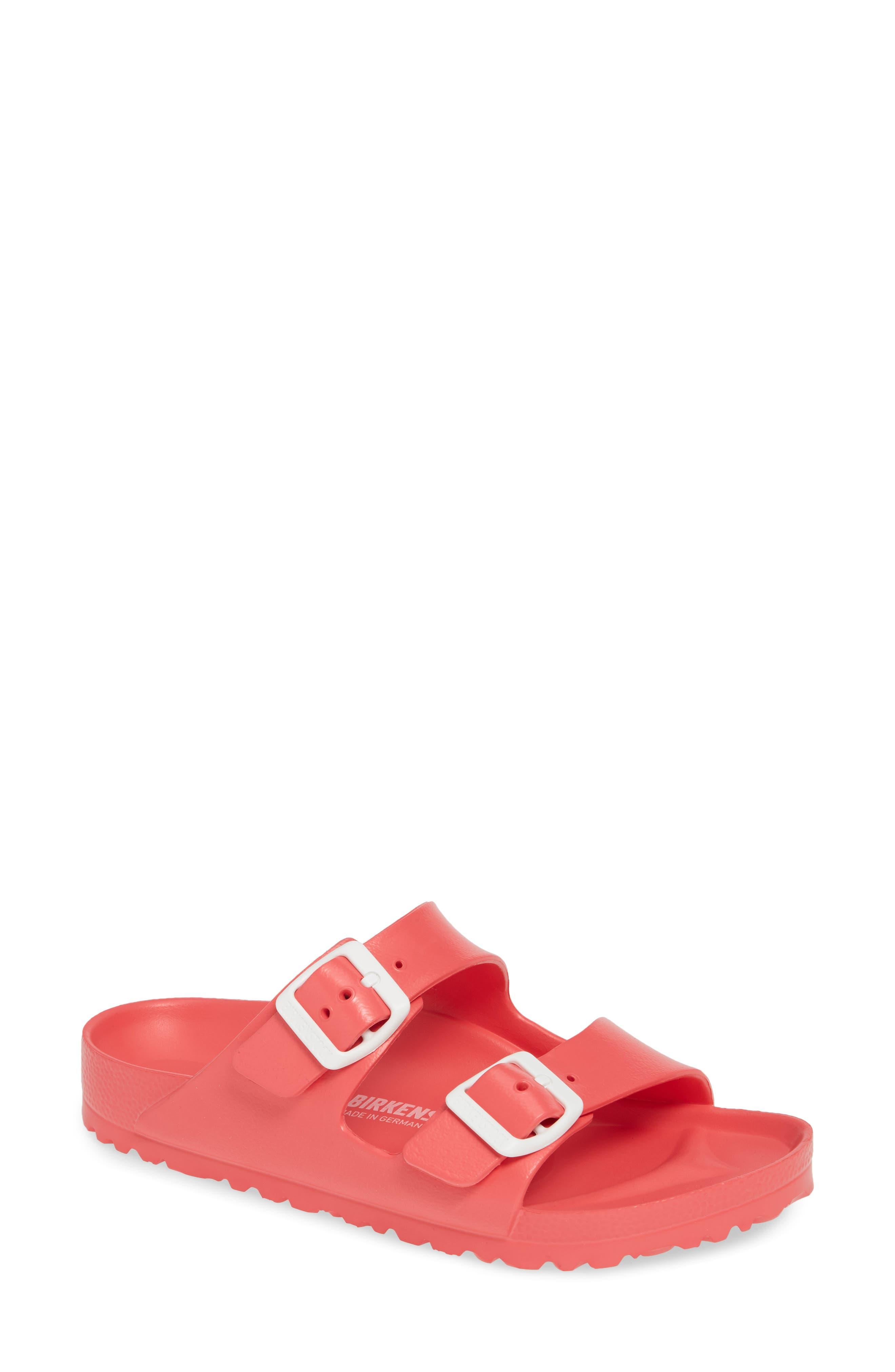 BIRKENSTOCK,                             Essentials - Arizona Slide Sandal,                             Main thumbnail 1, color,                             CORAL EVA