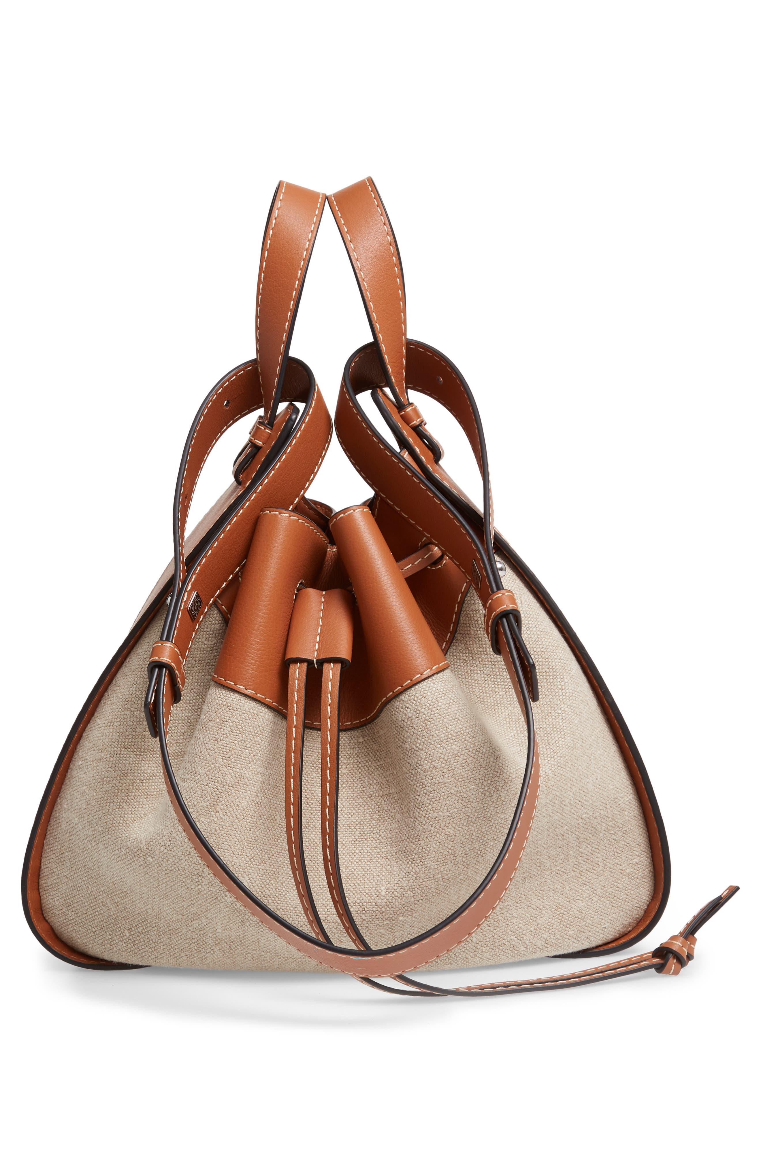 LOEWE,                             Hammock Drawstring Linen & Leather Hobo,                             Alternate thumbnail 6, color,                             TAN/ NATURAL