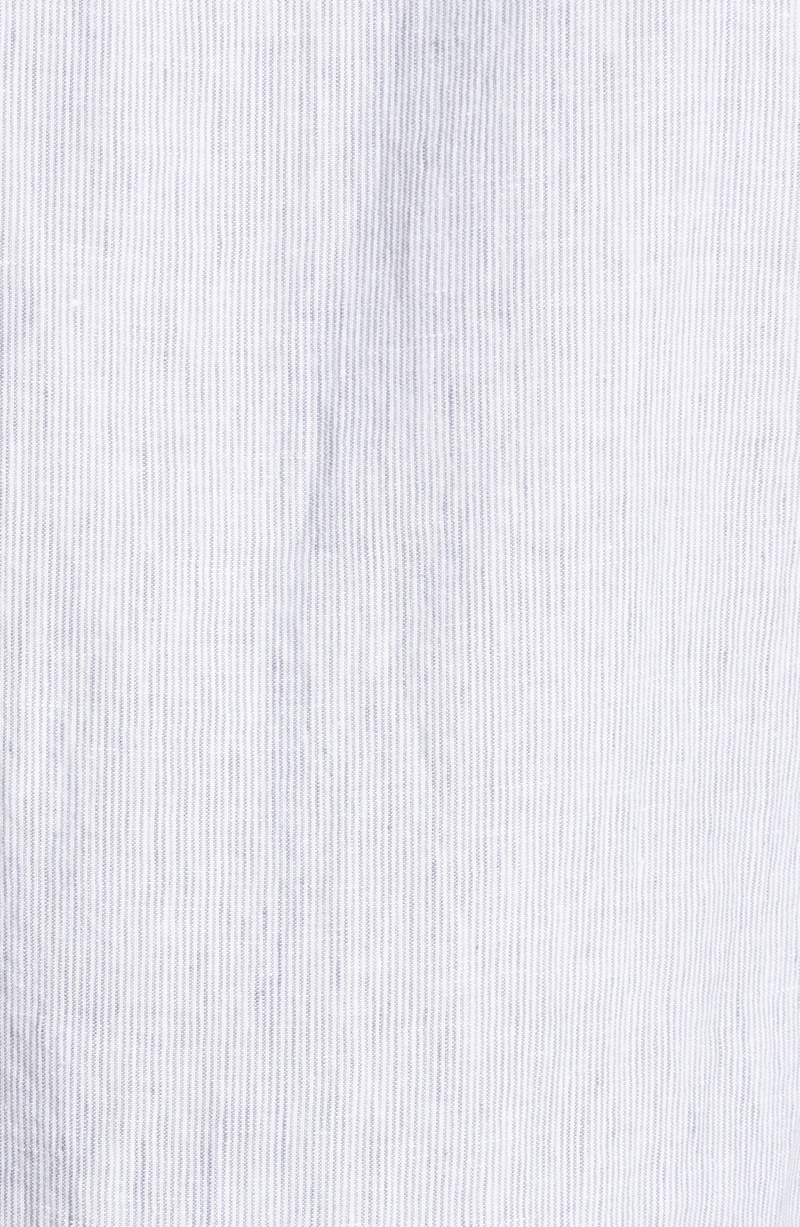 Trim Fit Microstripe Linen Shirt,                             Alternate thumbnail 2, color,                             100