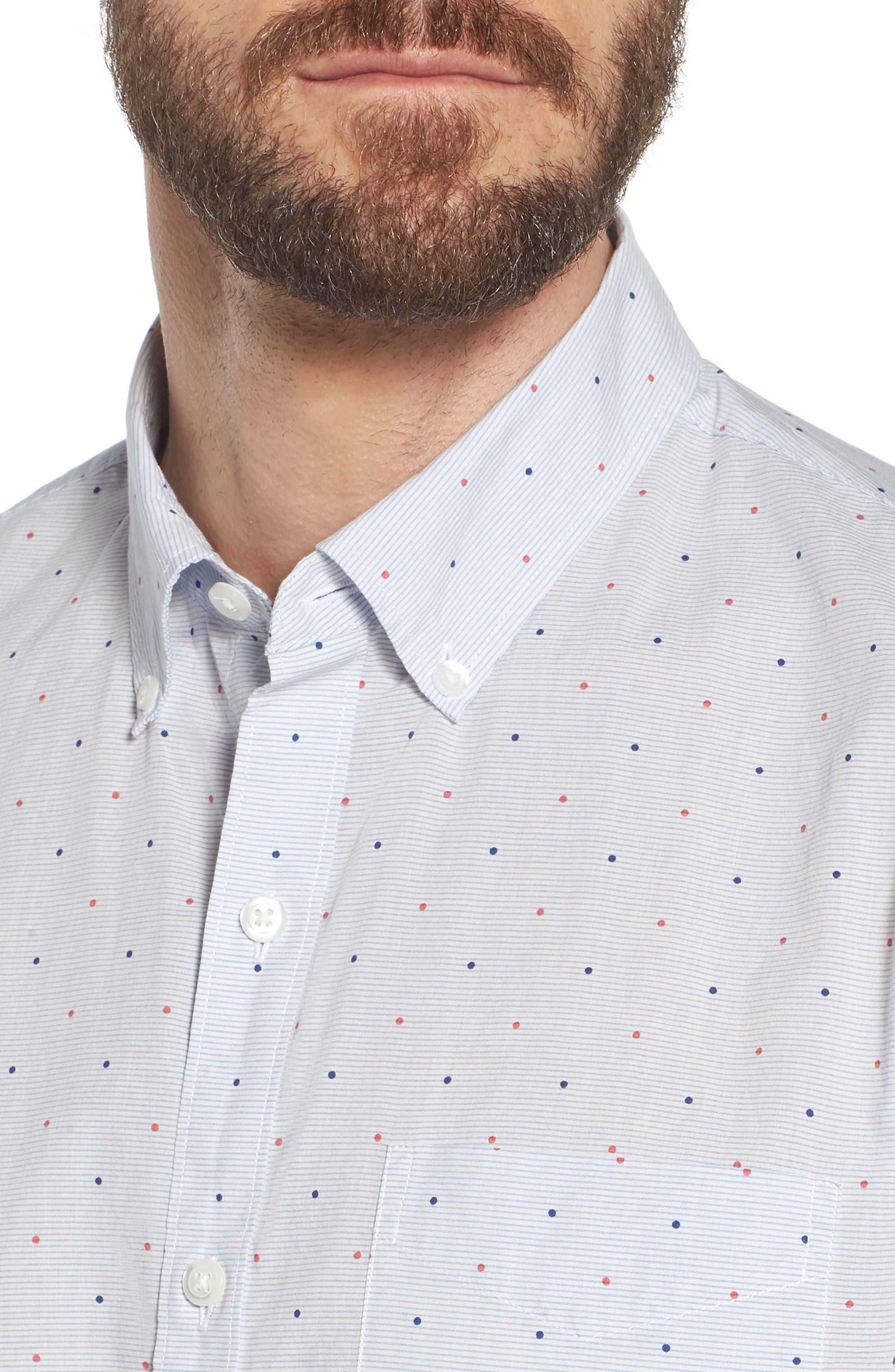 Slim Fit Dot Sport Shirt,                             Alternate thumbnail 4, color,                             400