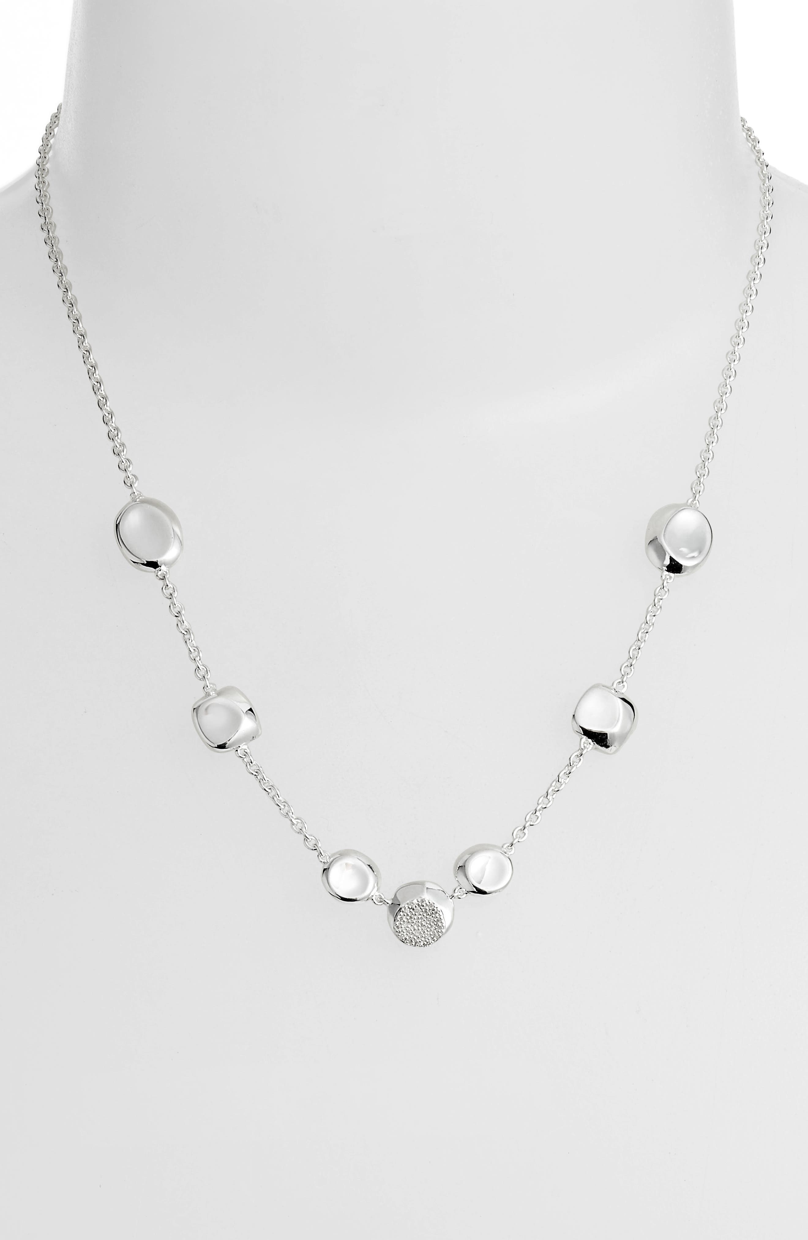 Diamond Pavé Station Necklace,                             Alternate thumbnail 2, color,                             SILVER/ DIAMOND